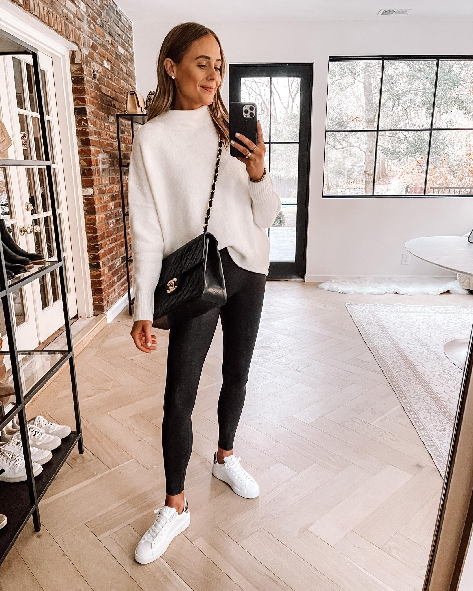 Fashion Jackson Wearing Amazon Fashion White Tunic Sweater Faux Leather Leggings Golden Goose Sneakers