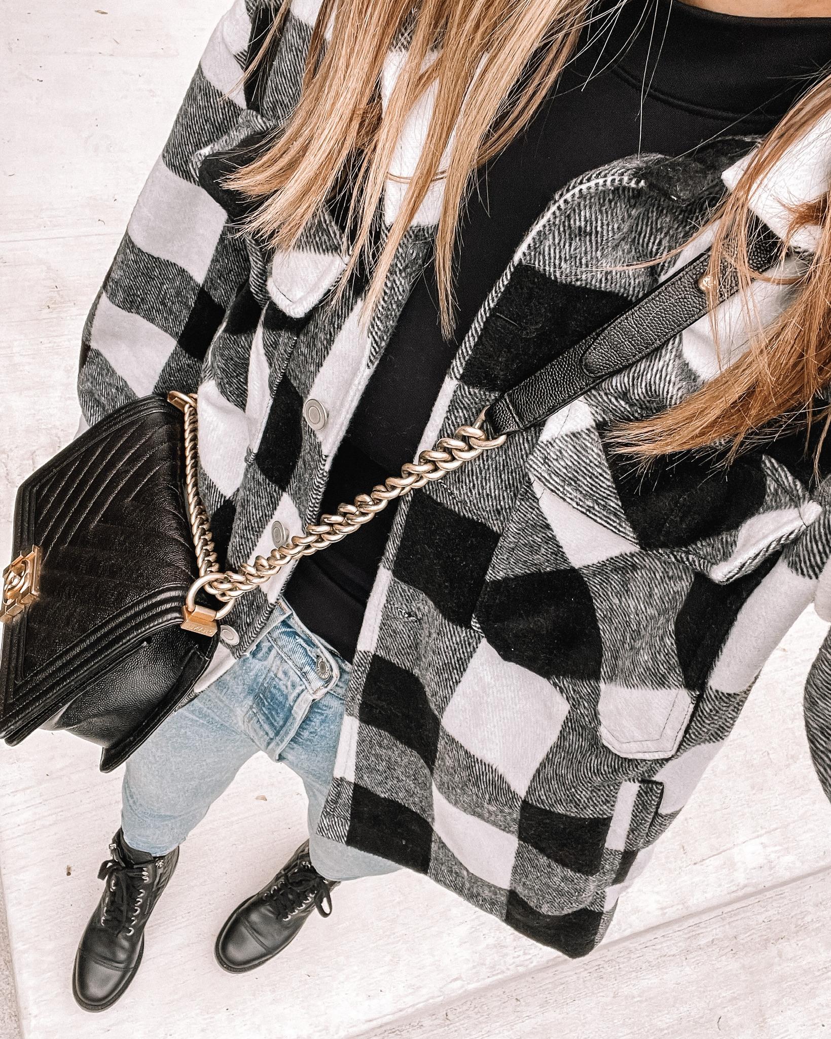 Fashion Jackson Wearing Amazon Fashion Black White Plaid Shacket