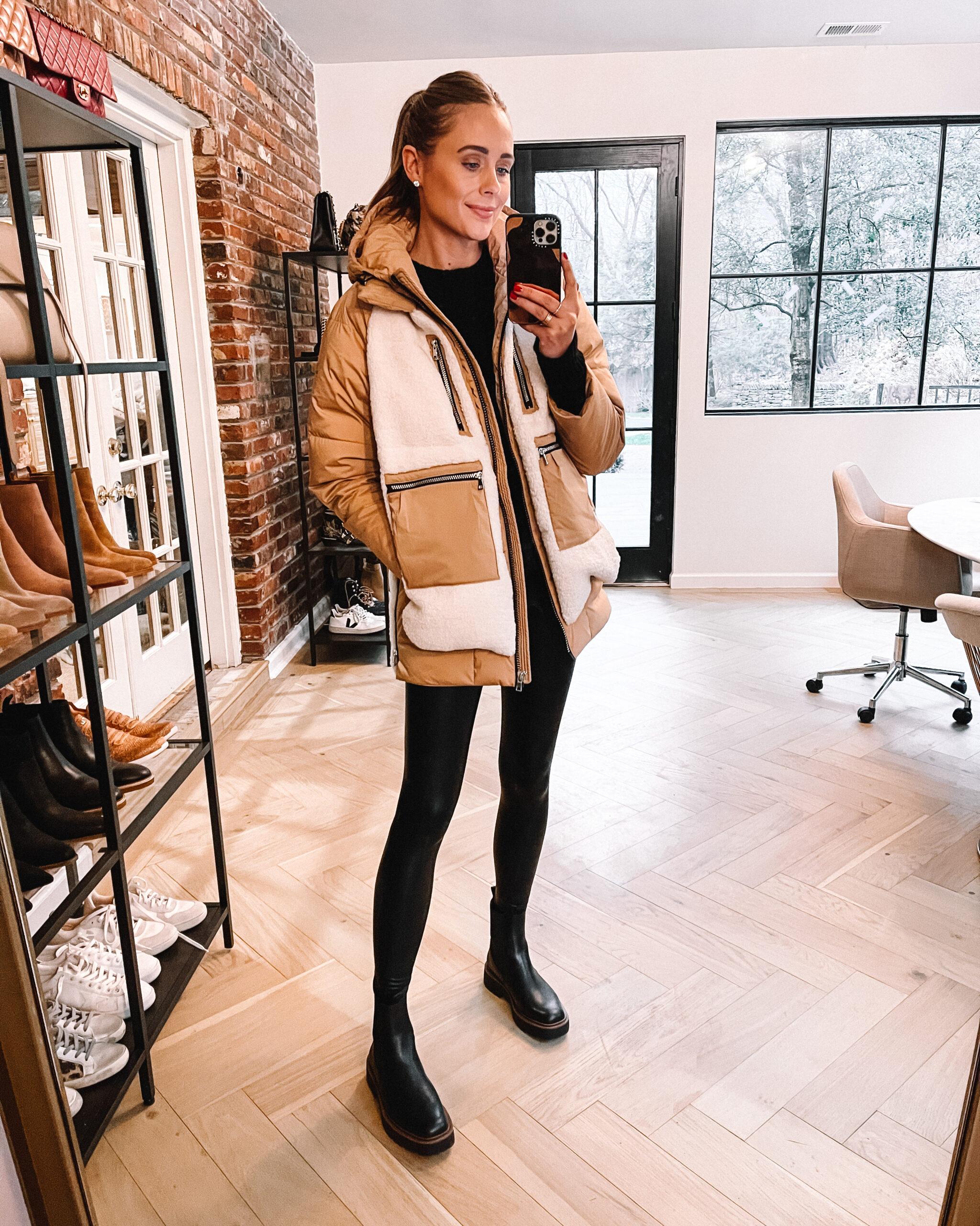 Fashion Jackson Wearing Amazon Fashion Fleece puffer Jacket Commando Faux Leather Leggings Lug Sole Black Boots