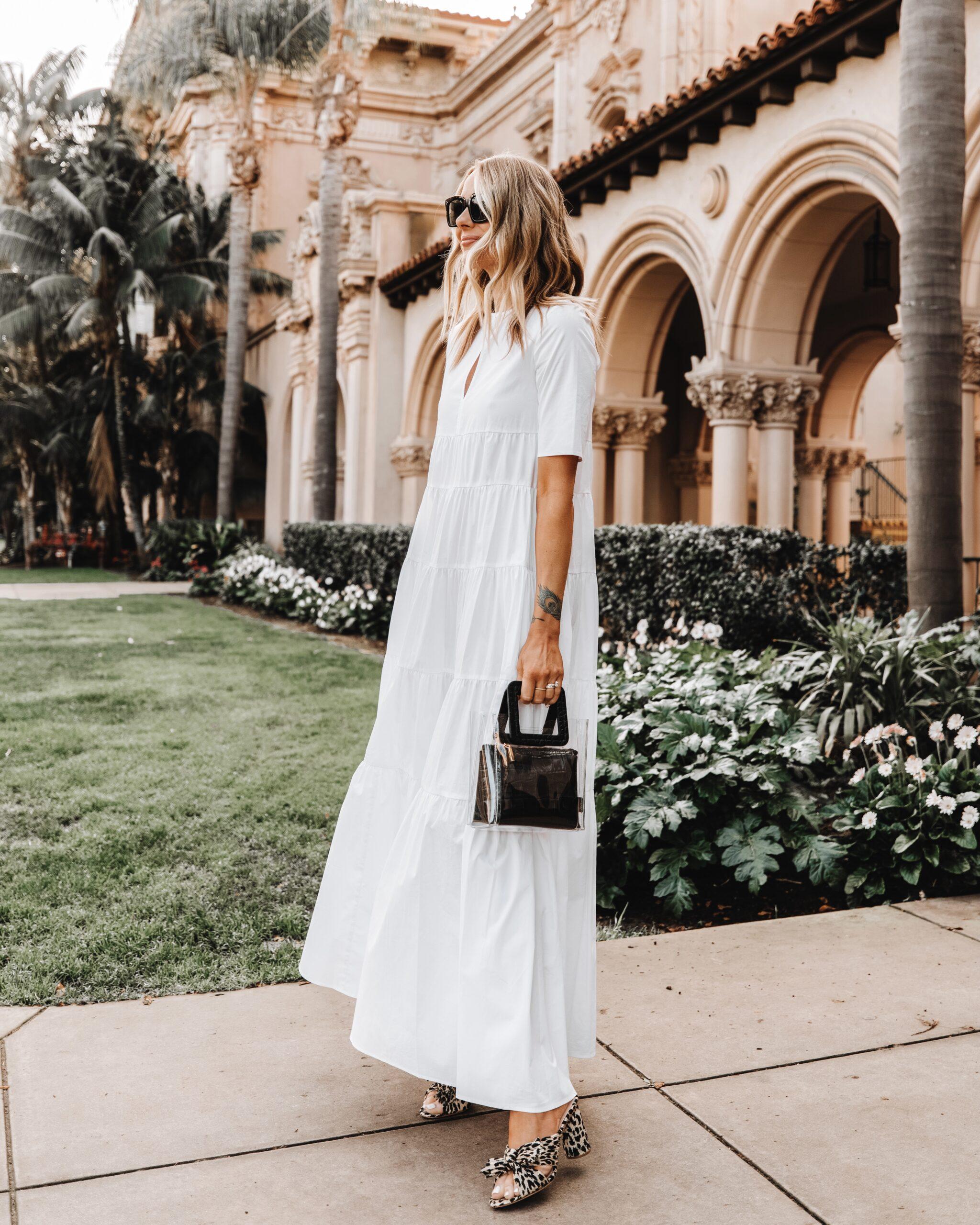 Fashion Jackson Wearing Staud Cocoon White Maxi Dress