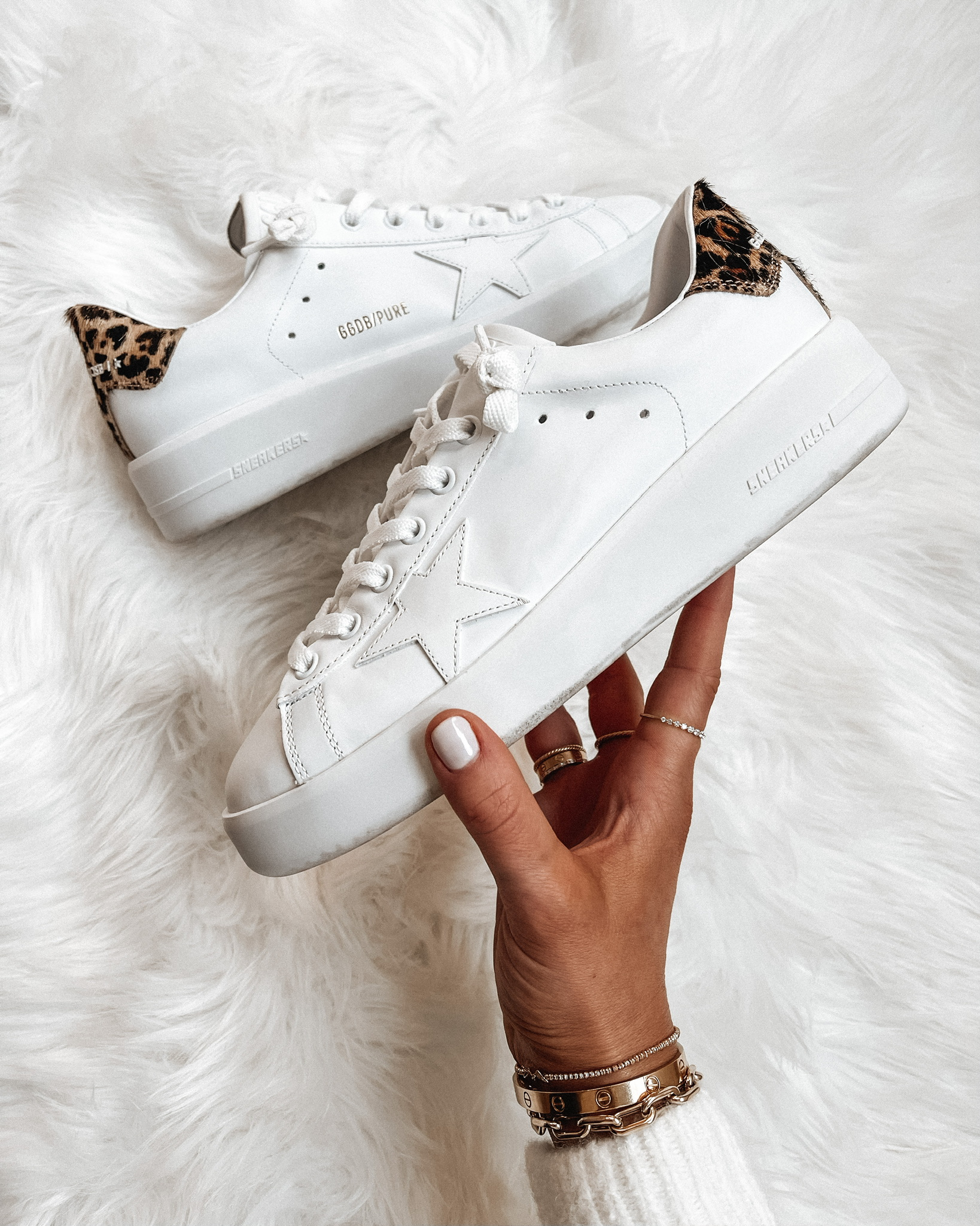 Fashion Jackson Golden Goose Purestar White Leopard Sneakers