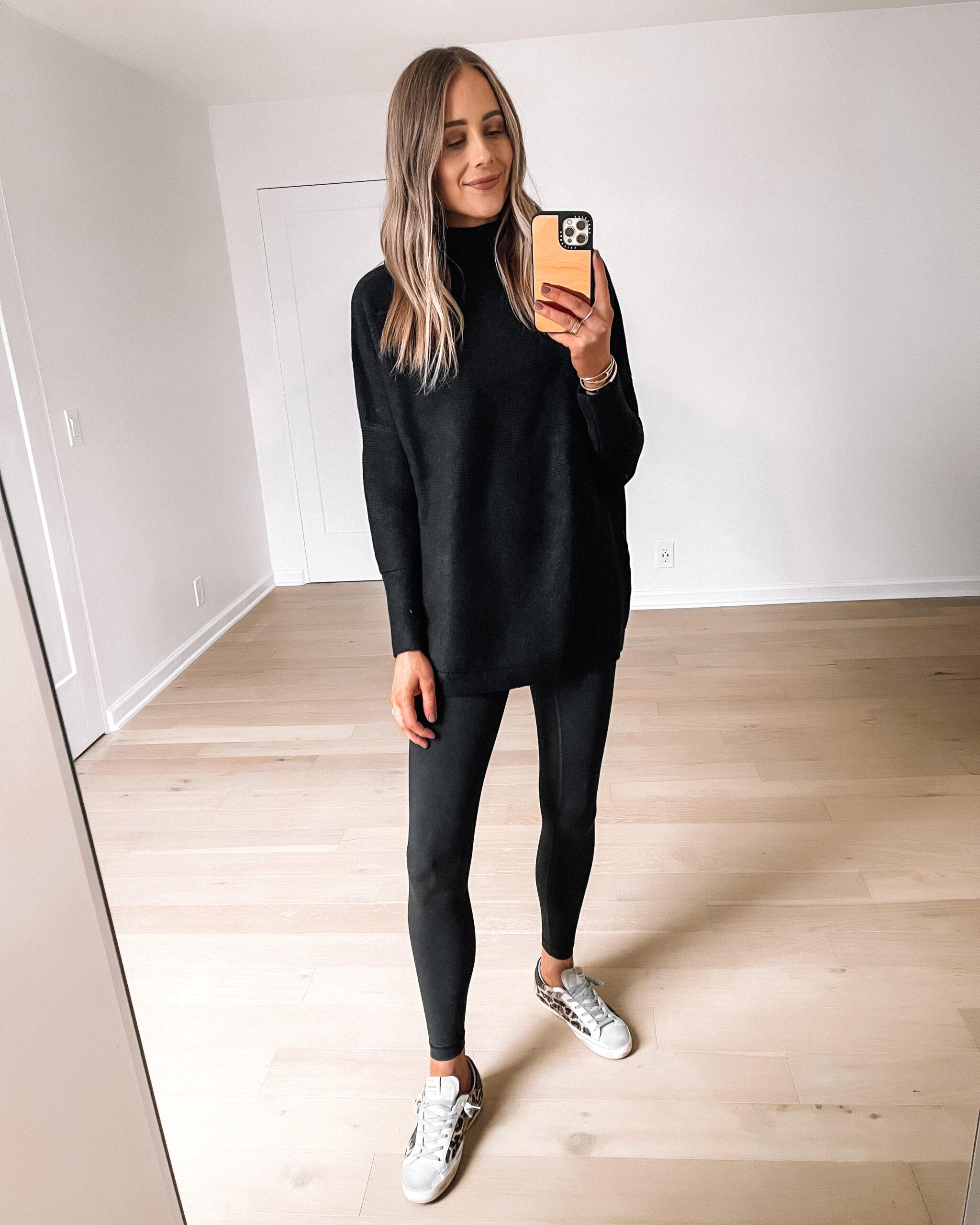 Fashion Jackson Wearing Amazon Fashion Black Ottoman Sweater Black Leggings Leopard Golden Goose Sneakers Outfit