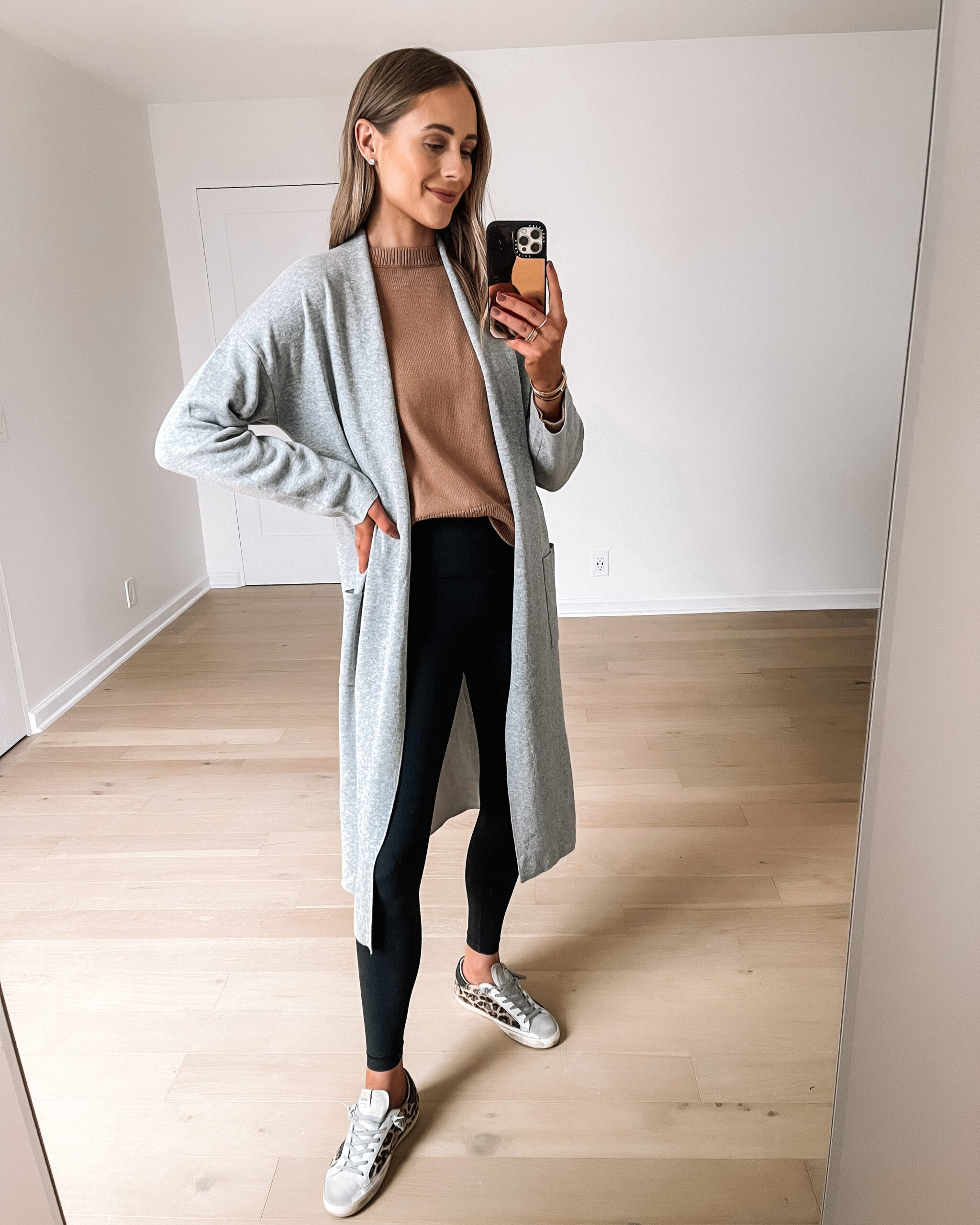 Fashion Jackson Wearing Amazon Fashion Long Grey Cardigan Tan Sweater Black Leggings Leopard Golden Goose Sneakers Outfit