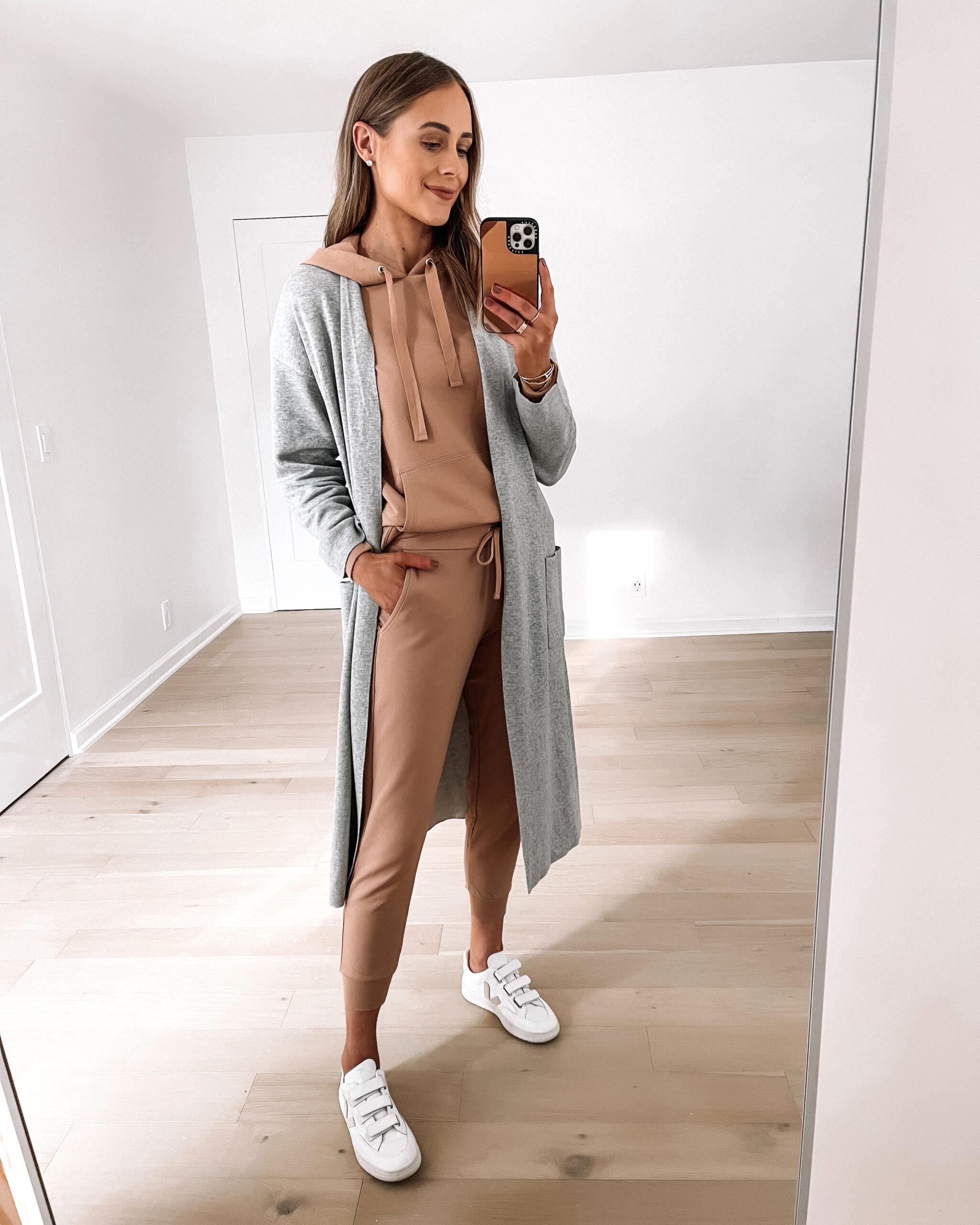 Fashion Jackson Wearing Amazon Fashion Long Grey Cardigan Tan Sweatshirt Tan Joggers White Veja Sneakers Outfit
