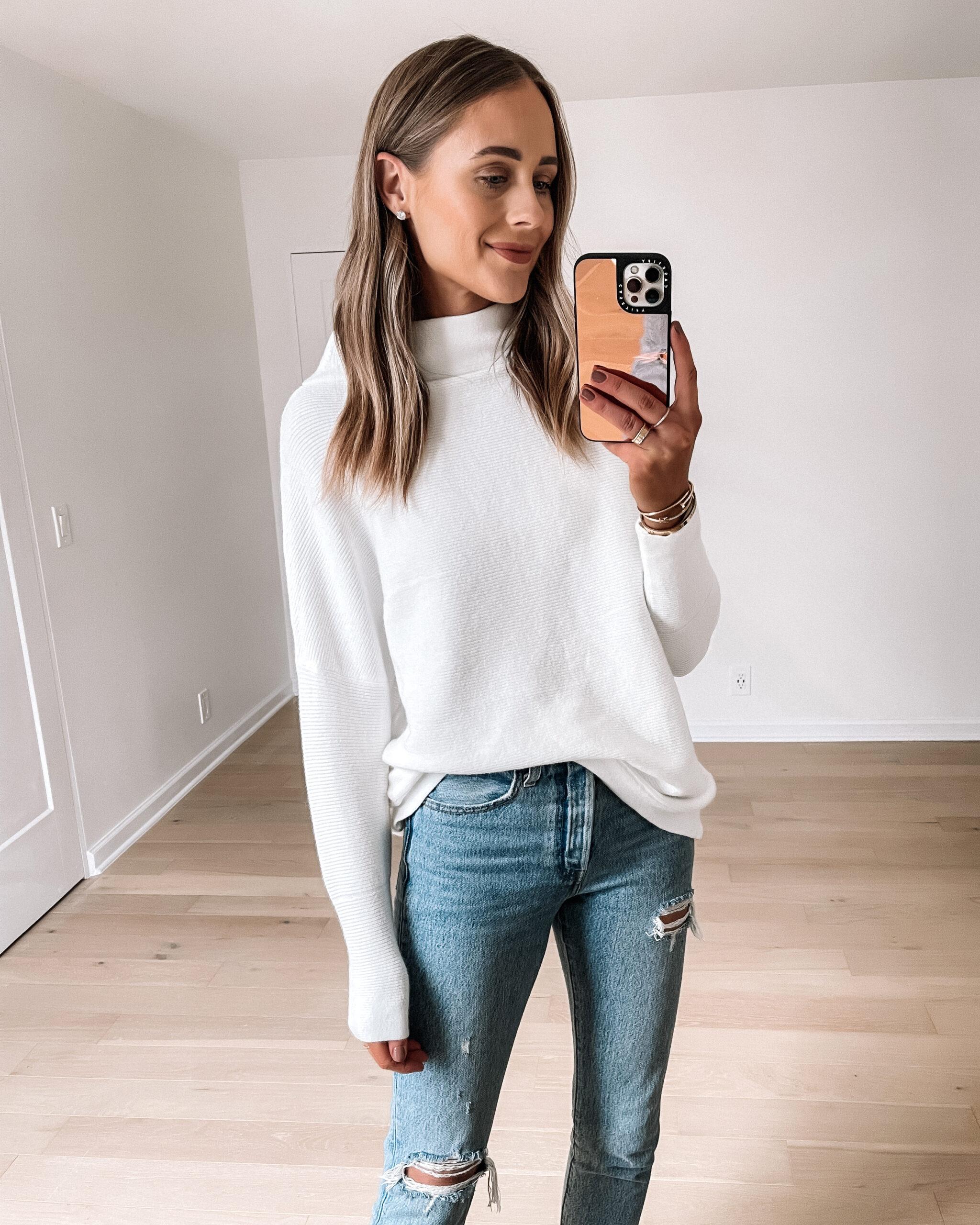 Fashion Jackson Wearing Amazon Fashion White Ottoman Sweater Ripped Jeans 1