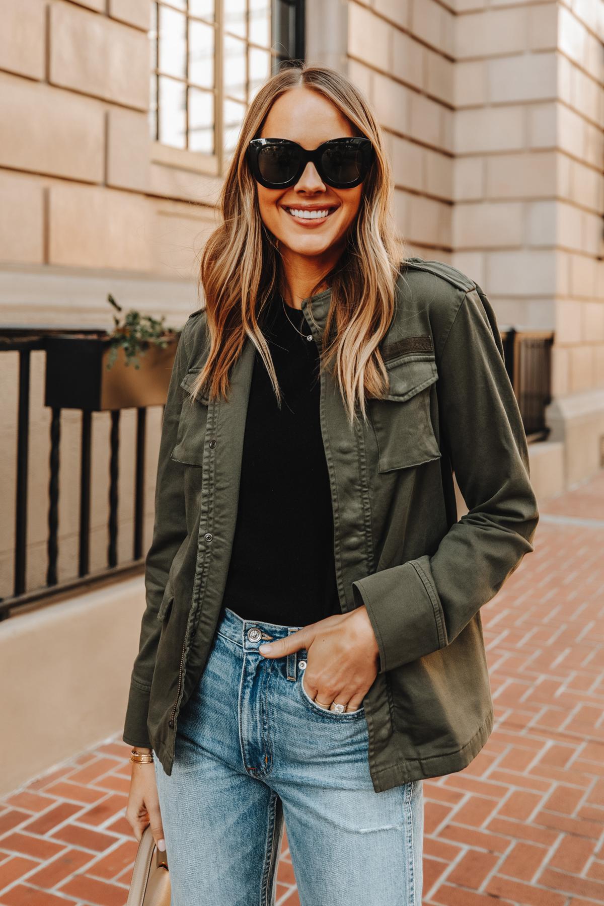 Fashion Jackson Wearing Anine Bing Army Jacket Black Tshirt Blue Jeans Outfit 1