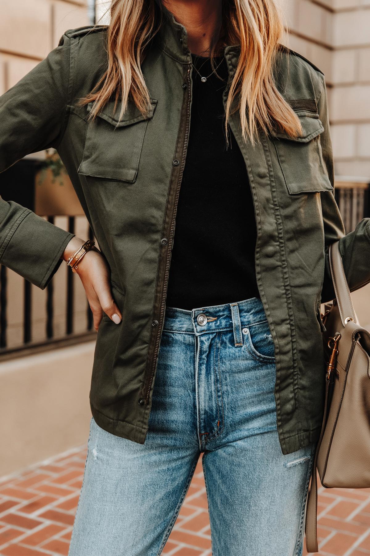 Fashion Jackson Wearing Anine Bing Army Jacket Black Tshirt Blue Jeans Outfit