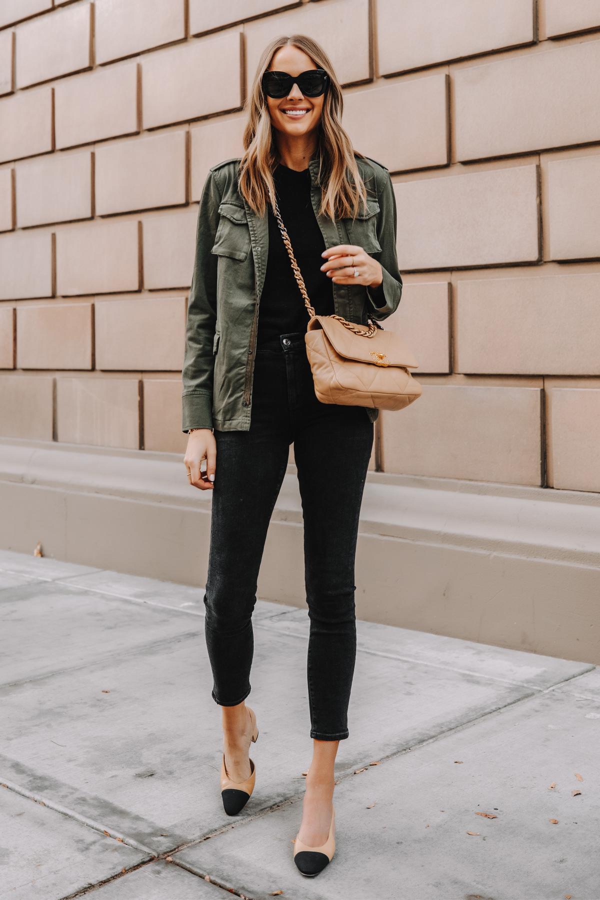 Fashion Jackson Wearing Anine Bing Green Utility Jacket Black Skinny Jeans Chanel Slingbacks Chanel 19 Small Dark Beige Handbag 1