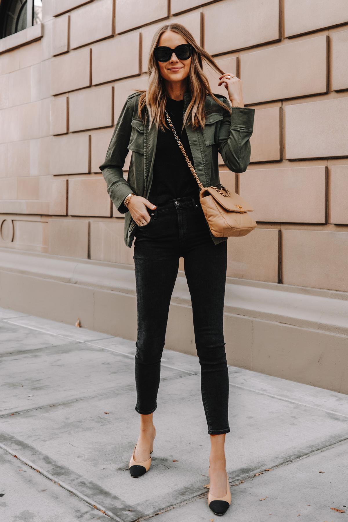 Fashion Jackson Wearing Anine Bing Green Utility Jacket Black Skinny Jeans Chanel Slingbacks Chanel 19 Small Dark Beige Handbag 2