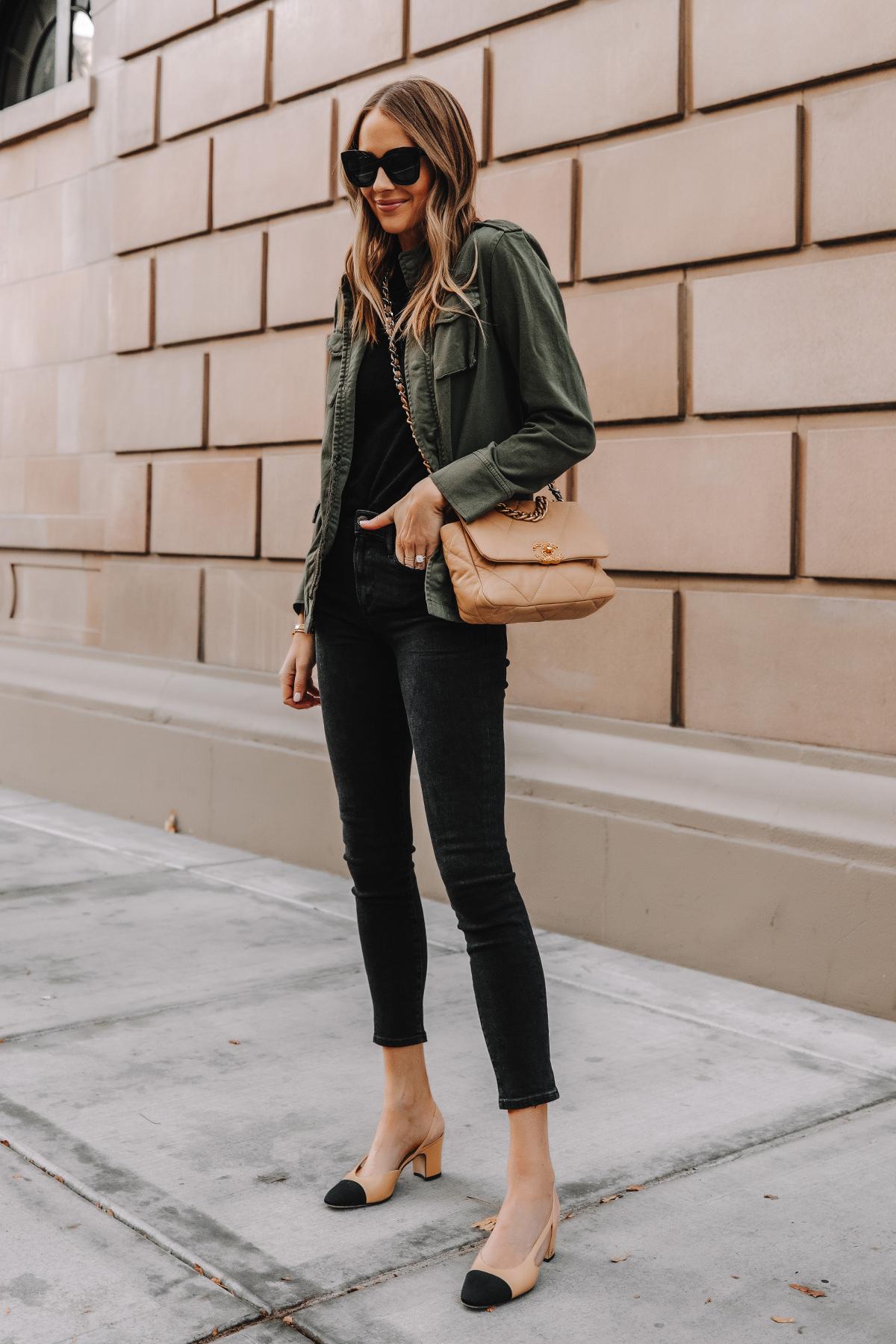 Fashion Jackson Wearing Anine Bing Green Utility Jacket Black Skinny Jeans Chanel Slingbacks Chanel 19 Small Dark Beige Handbag 3
