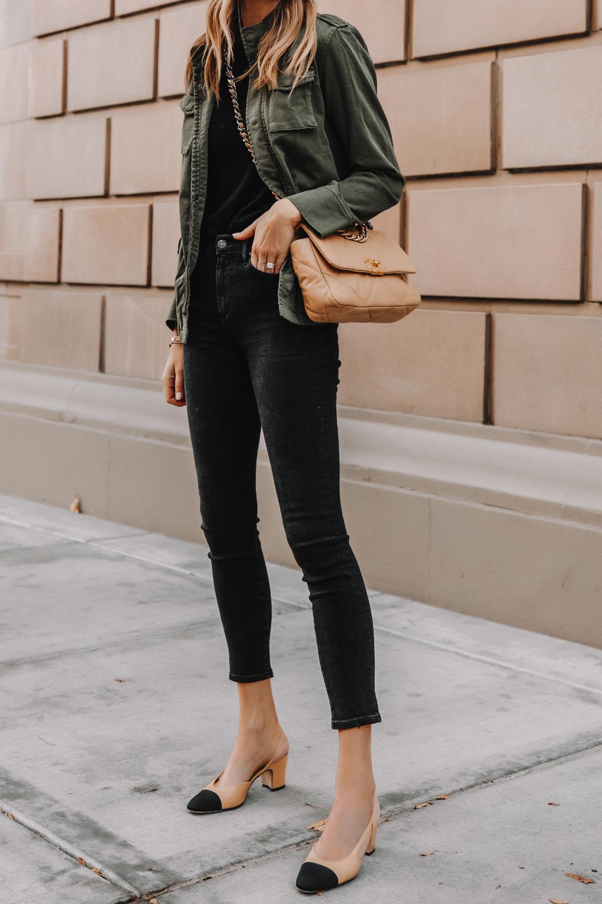 Fashion Jackson Wearing Anine Bing Green Utility Jacket Black Skinny Jeans Chanel Slingbacks Chanel 19 Small Dark Beige Handbag