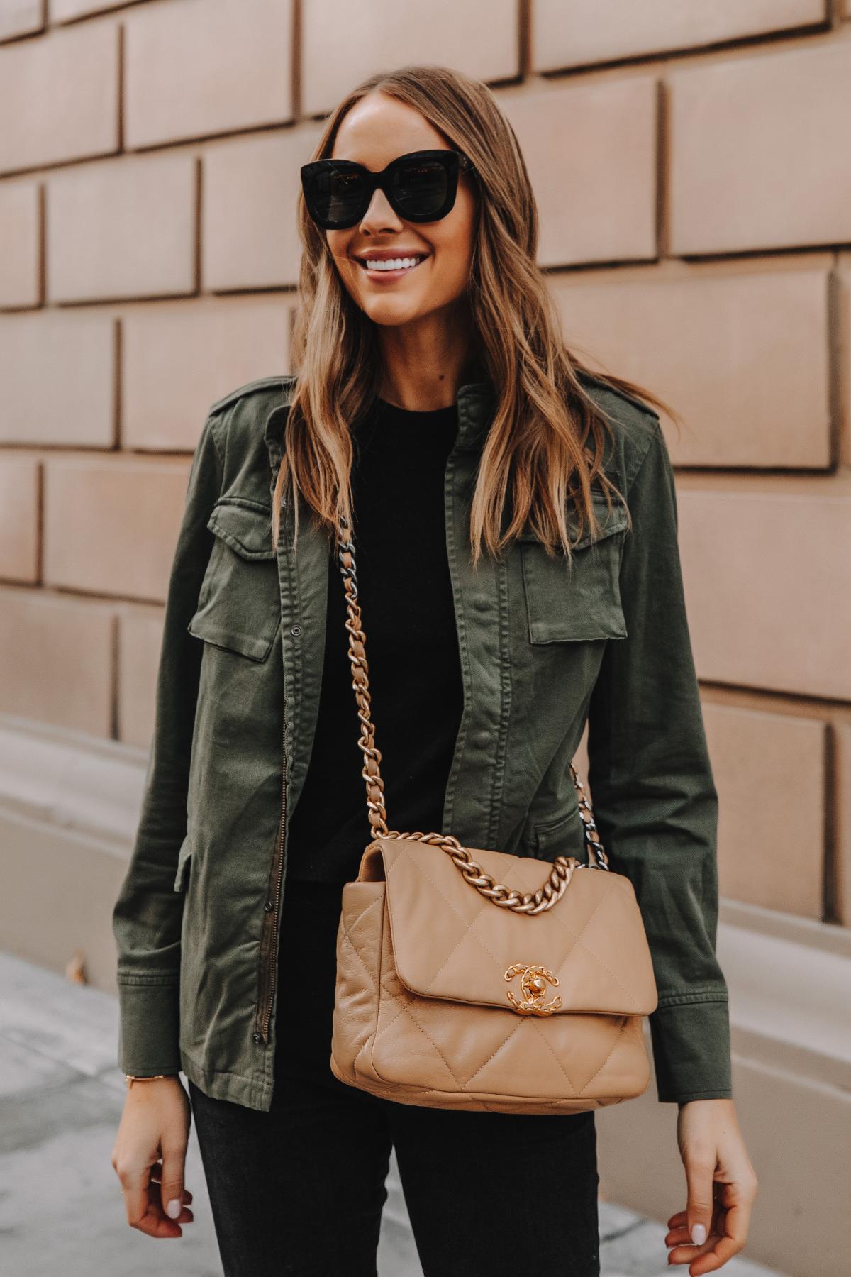 Fashion Jackson Wearing Anine Bing Green Utility Jacket Chanel 19 Small Dark Beige Handbag 1