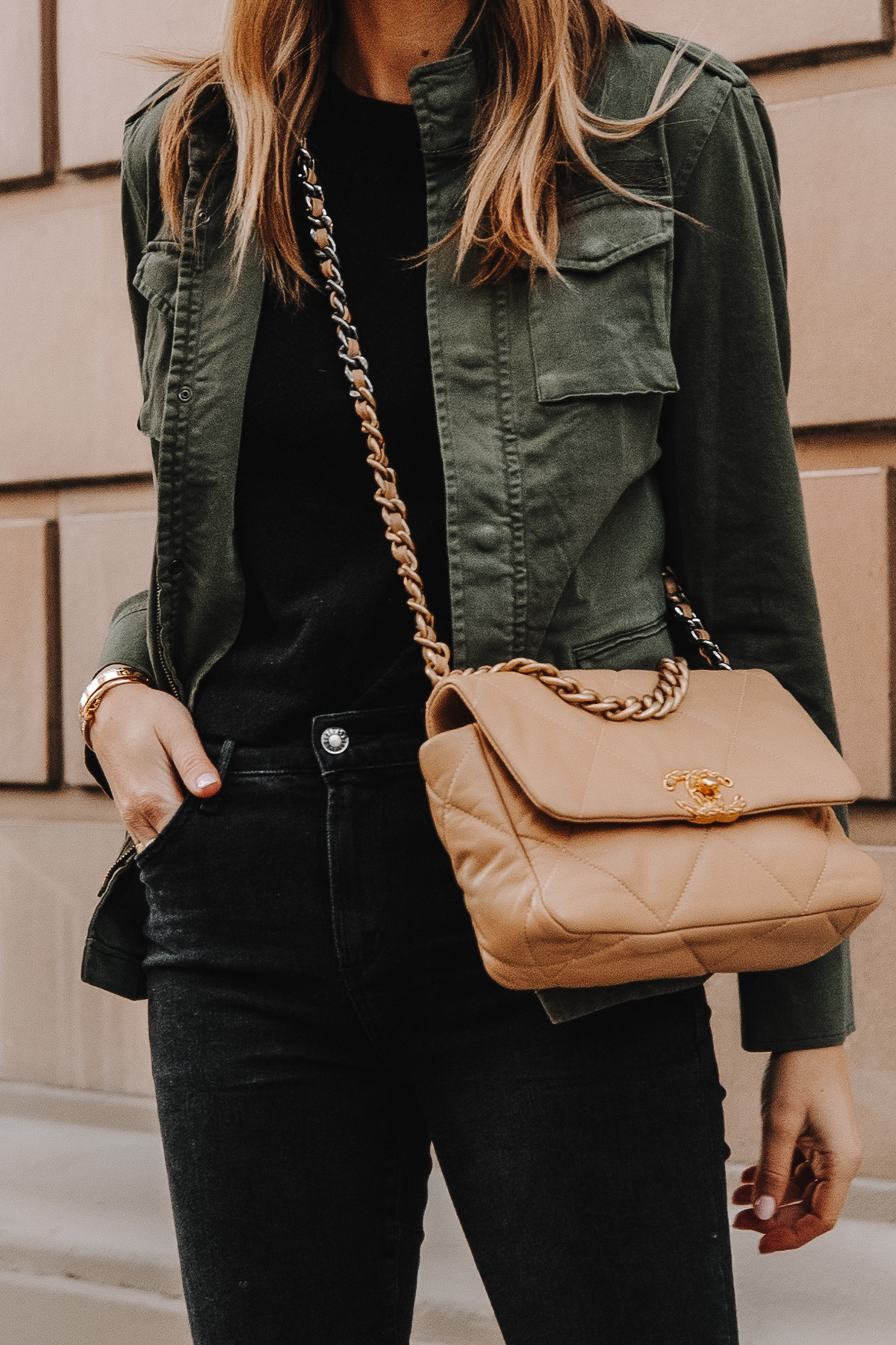 Fashion Jackson Wearing Anine Bing Green Utility Jacket Chanel 19 Small Dark Beige Handbag 3