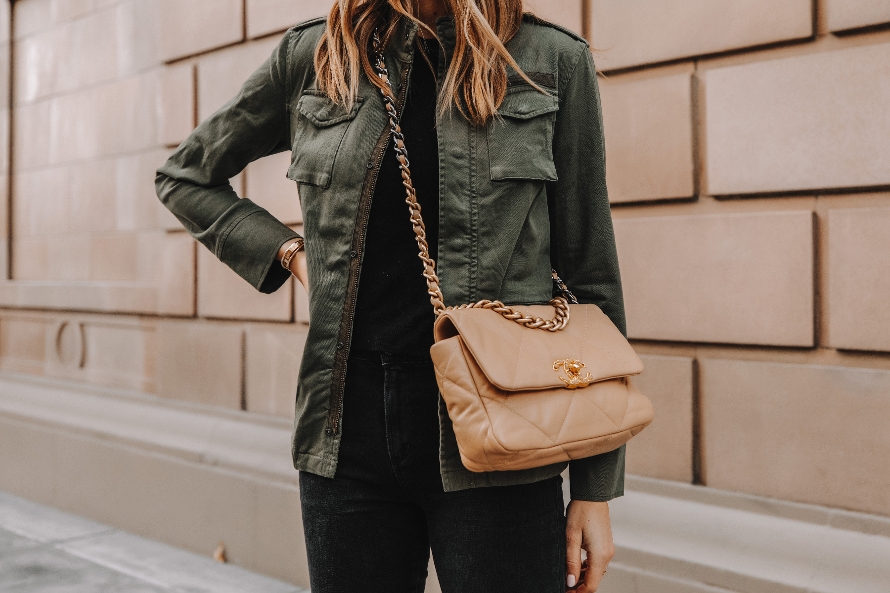 Fashion Jackson Wearing Anine Bing Green Utility Jacket Chanel 19 Small Dark Beige Handbag
