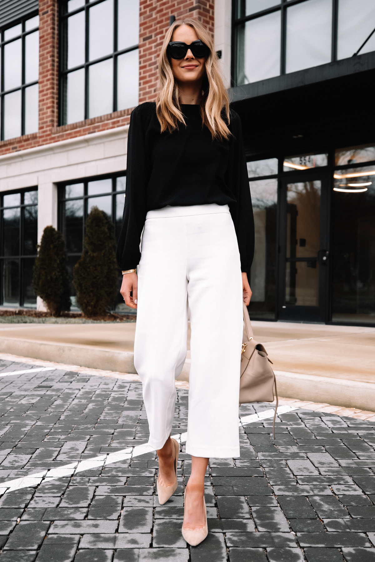 Fashion Jackson Wearing Black Blouse White Pants Beige Pumps Workwear Outfit 2