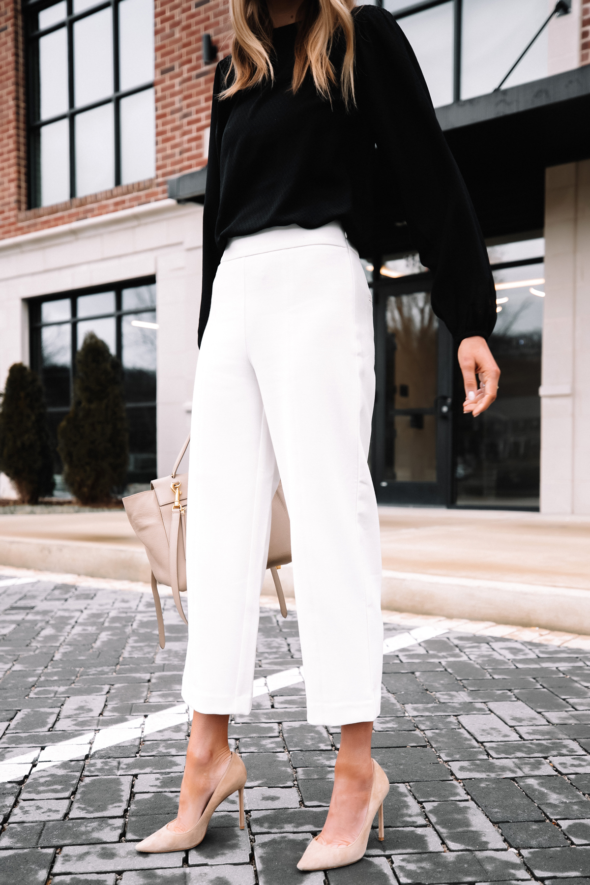 Fashion Jackson Wearing Black Blouse White Pants Beige Pumps Workwear Outfit 4