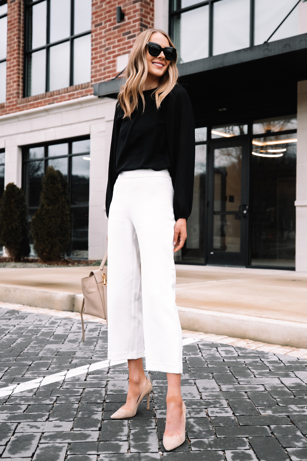 Fashion Jackson Wearing Black Blouse White Pants Beige Pumps Workwear Outfit 5