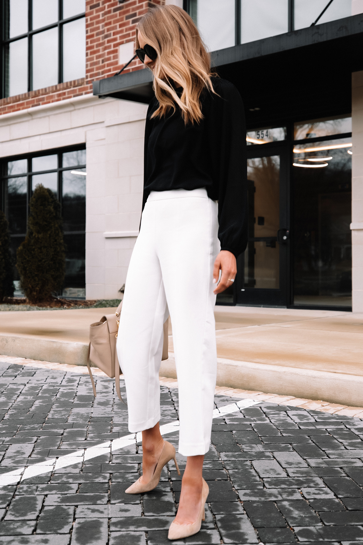 Fashion Jackson Wearing Black Blouse White Pants Beige Pumps Workwear Outfit 6