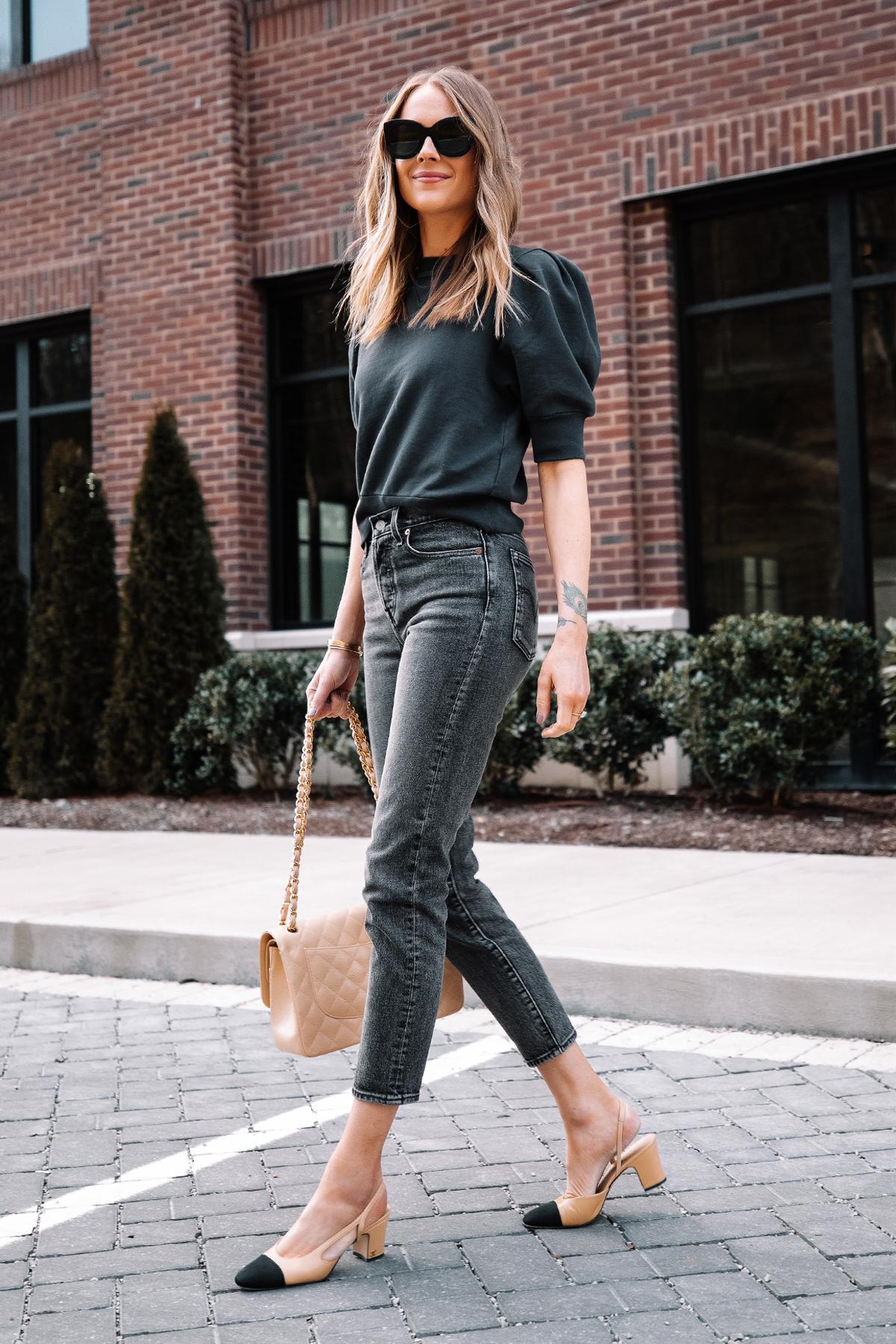Fashion Jackson Wearing Frame Navy Puff Sleeve Sweatshirt Levis Wedgie Black Jeans Chanel Slingbacks