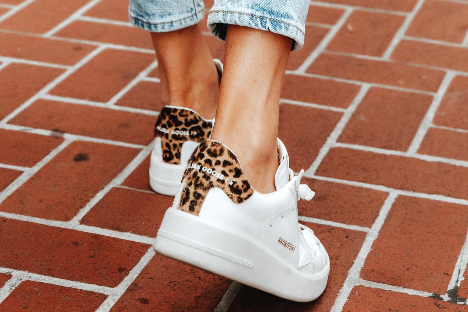 Fashion Jackson Wearing Golden Goose White Purestar Leopard Sneakers 1