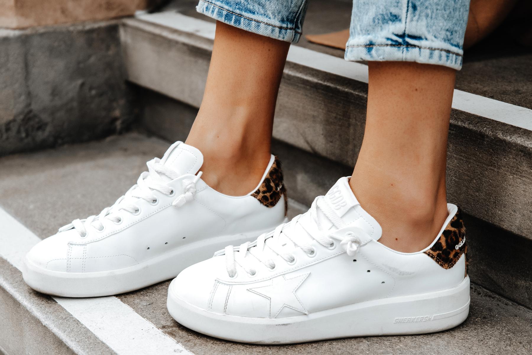 Fashion Jackson Wearing Golden Goose White Purestar Leopard Sneakers