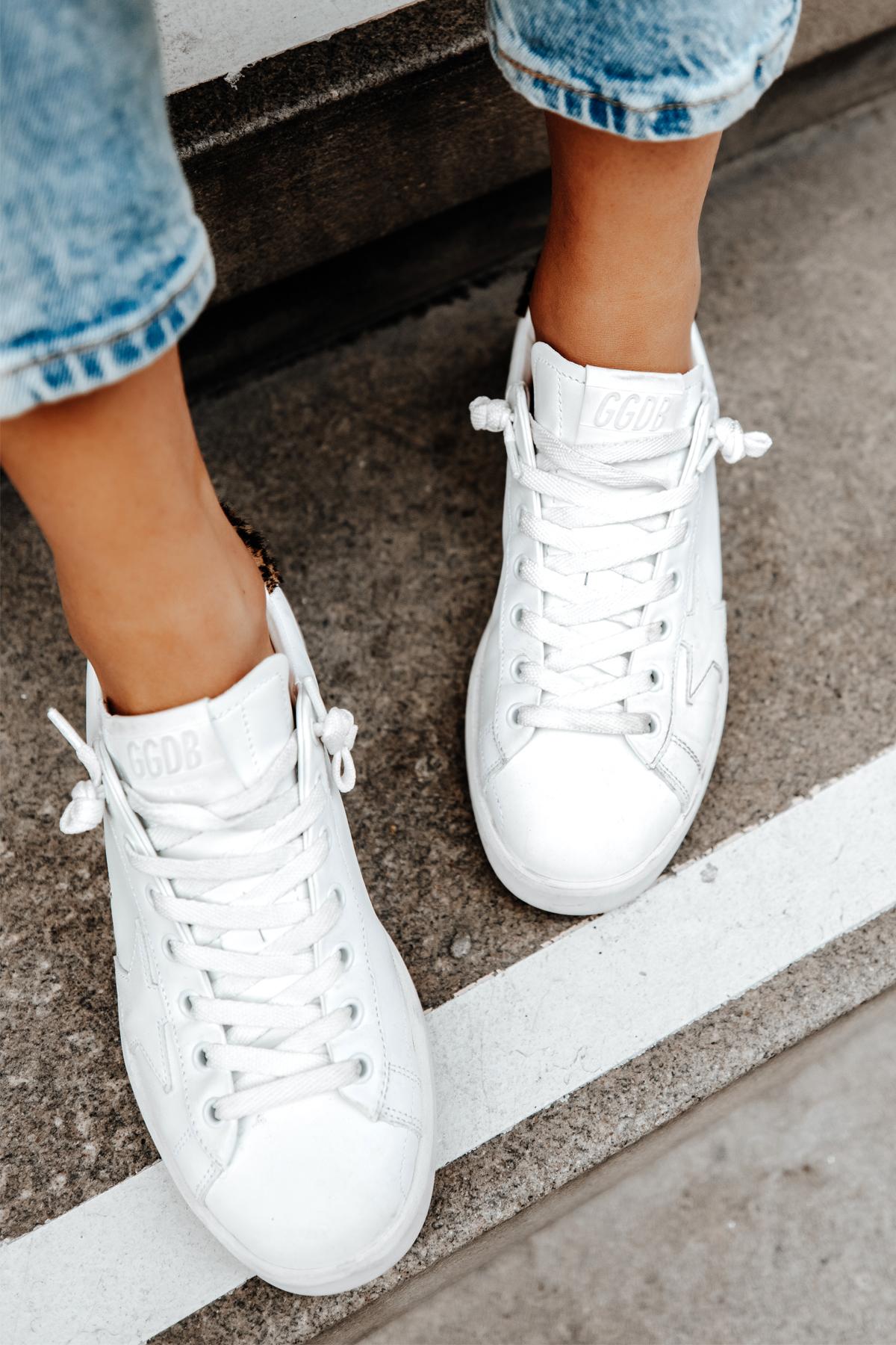 Fashion Jackson Wearing Golden Goose White Purestar Sneakers