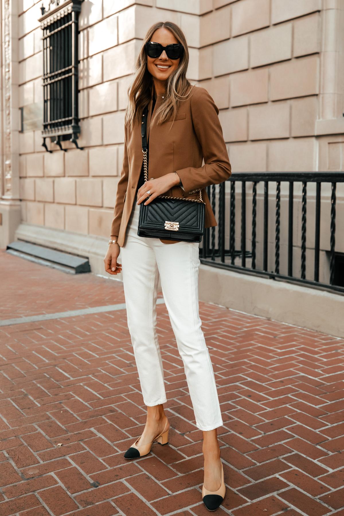 Fashion Jackson Wearing Jcrew Camel Blazer Citizens of Humanity White Jeans Chanel Slingbacks Chanel Black Boy Bag 1