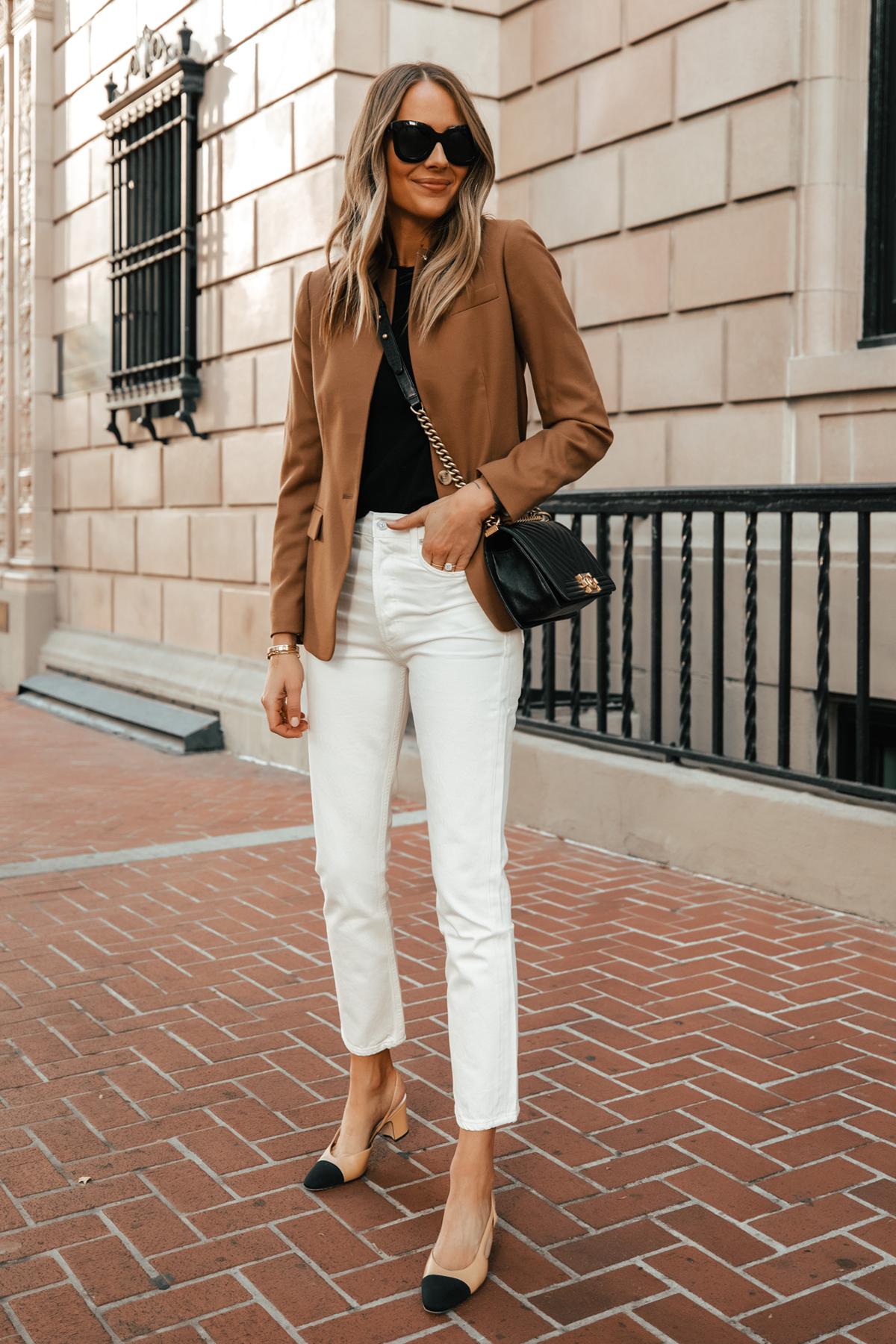 Fashion Jackson Wearing Jcrew Camel Blazer Citizens of Humanity White Jeans Chanel Slingbacks Chanel Black Boy Bag