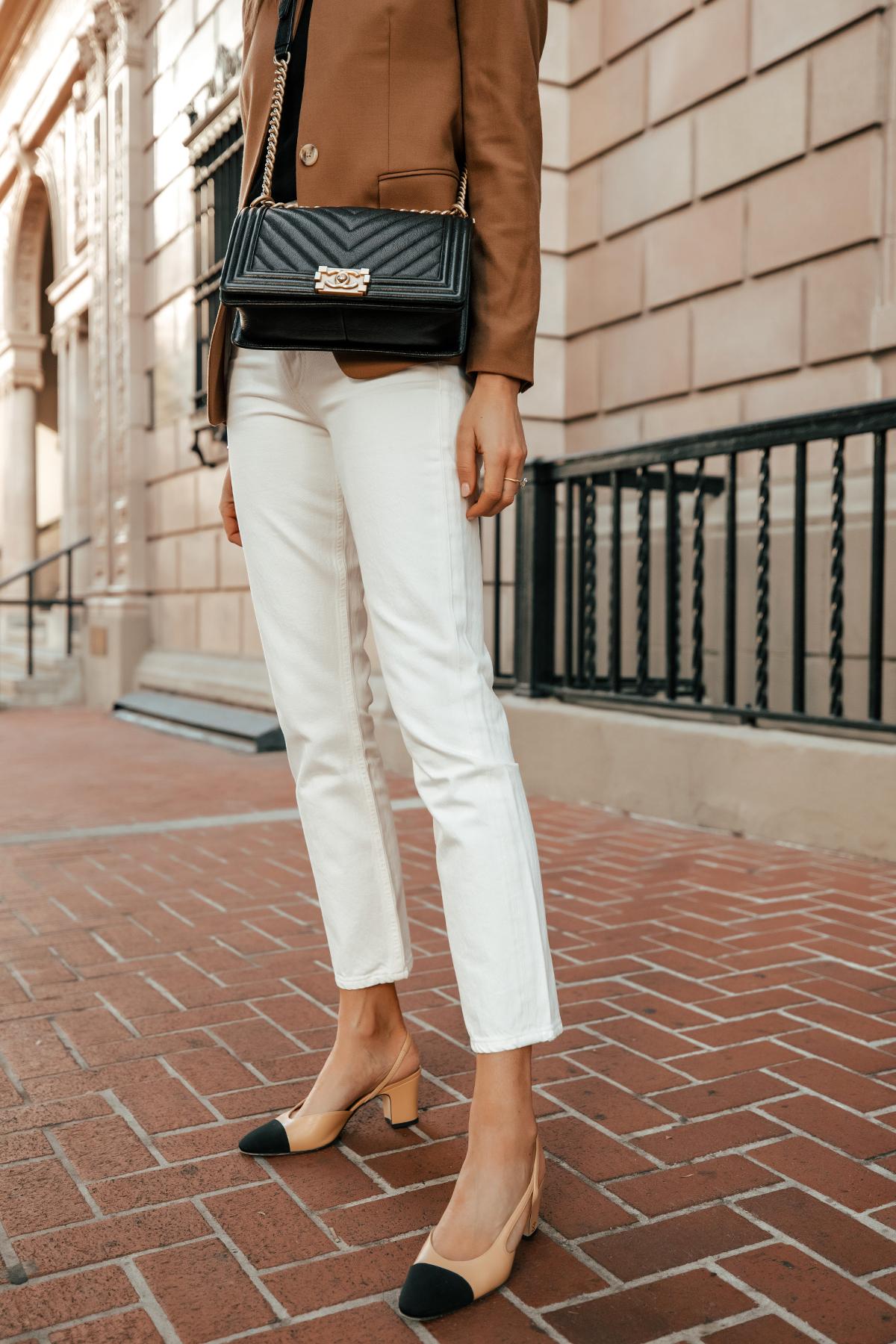 Fashion Jackson Wearing Jcrew Camel Blazer White Jeans Chanel Slingbacks Chanel Black Boy Bag 1