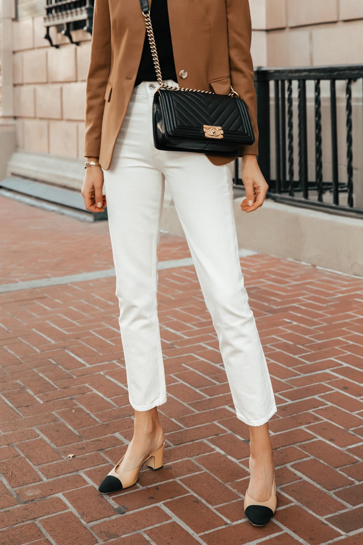 Fashion Jackson Wearing Jcrew Camel Blazer White Jeans Chanel Slingbacks Chanel Black Boy Bag