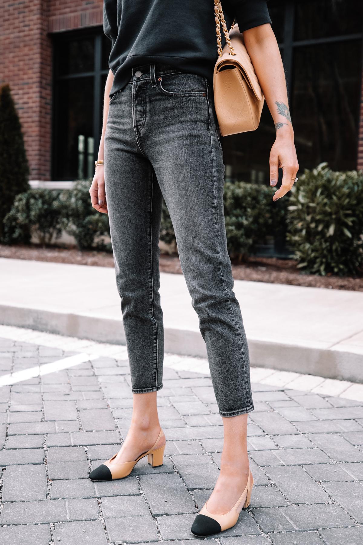Fashion Jackson Wearing Navy Short Sleeve Sweatshirt Levis Wedgie Black Jeans Chanel Slingbacks 1