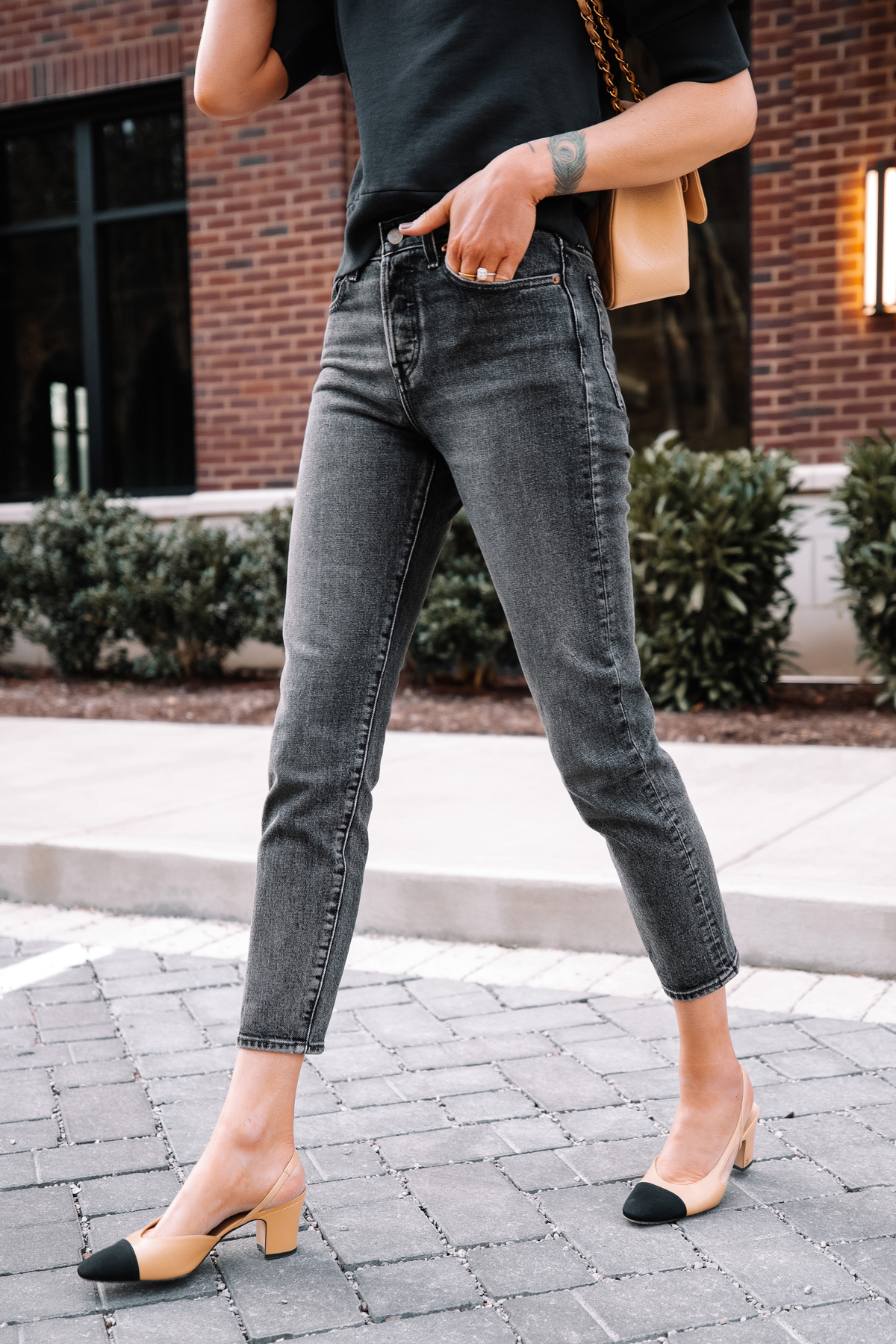Fashion Jackson Wearing Navy Short Sleeve Sweatshirt Levis Wedgie Black Jeans Chanel Slingbacks