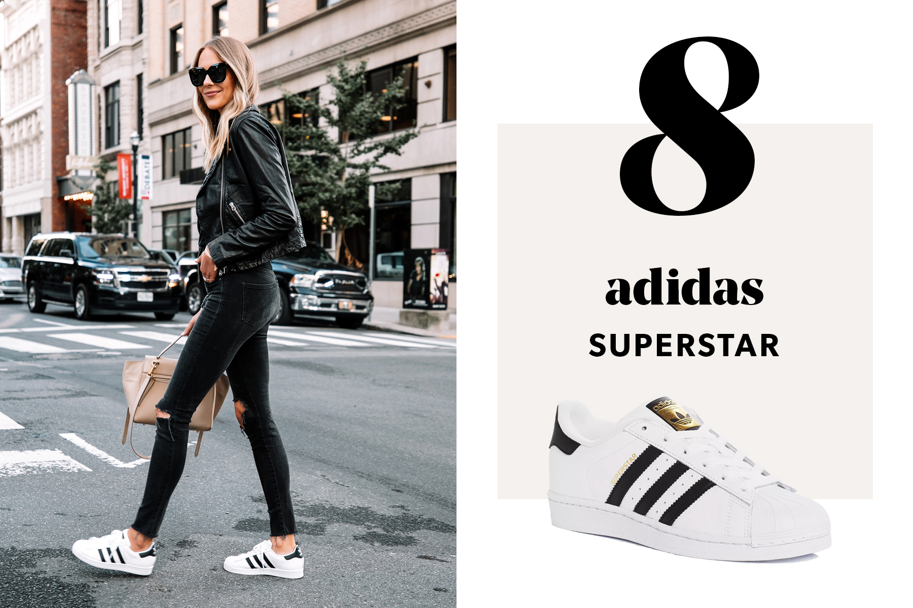 fashion jackson wearing adidas superstar sneakers outfit