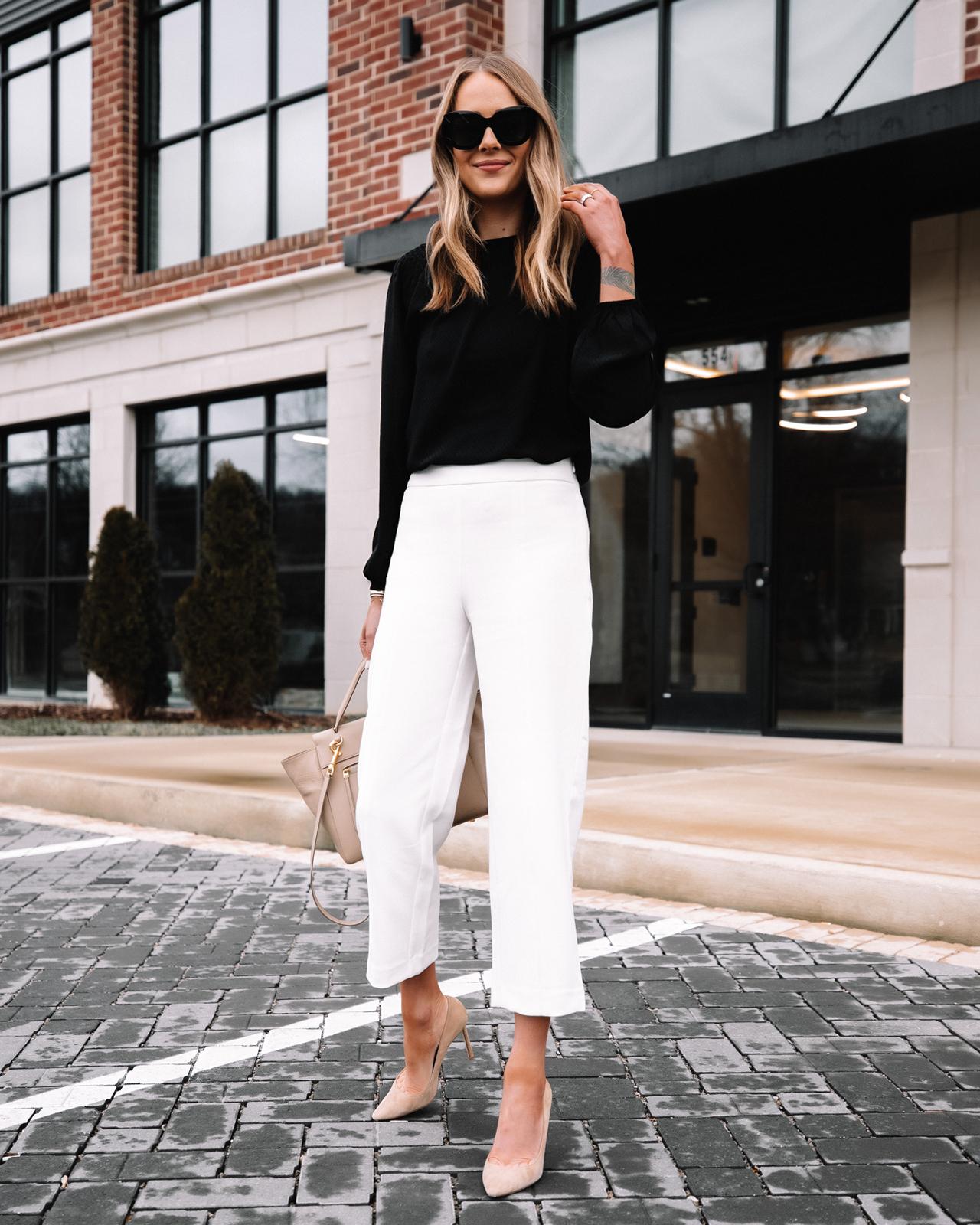Fashion Jackson Wearing Ann Taylor White Pants Workwear Outfit