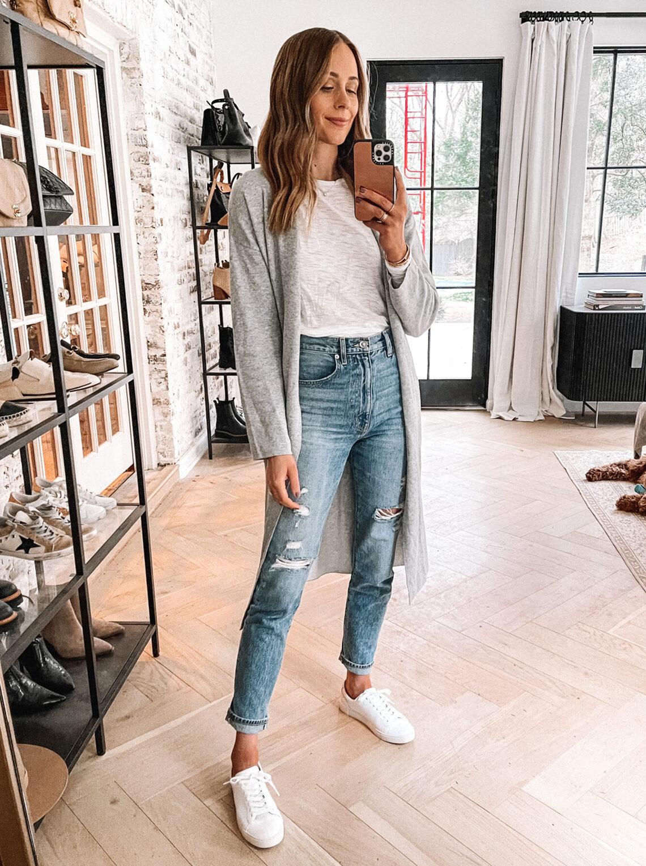 Fashion Jackson Amazon Long Cardigan Goldie Tshirt Distressed Denim White Sneakers
