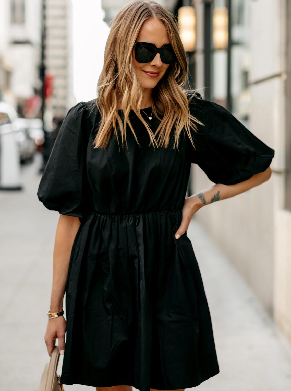 Fashion Jackson Madewell Poplin Crewneck Bubble-Sleeve Mini Dress