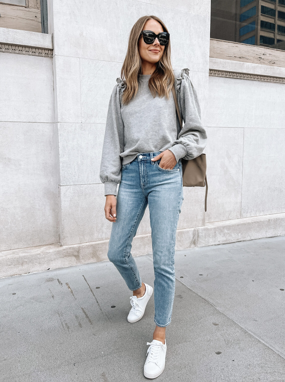 Fashion Jackson Seven for all Mankind Jeans Ruffle Shoulder Sweatshirt