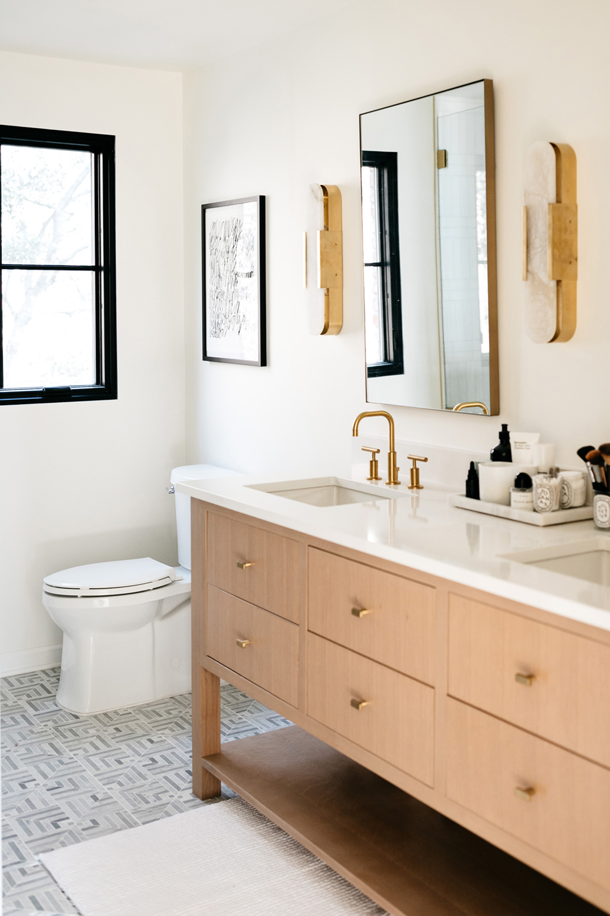 Fashion-Jackson-Transitional-Bathroom-Remodel-Kelly-Werstler-Melange-Lighting-White-Quartz-Bathroom-Counters-Kelly-Werster-Liaison-Mosaic-Tile
