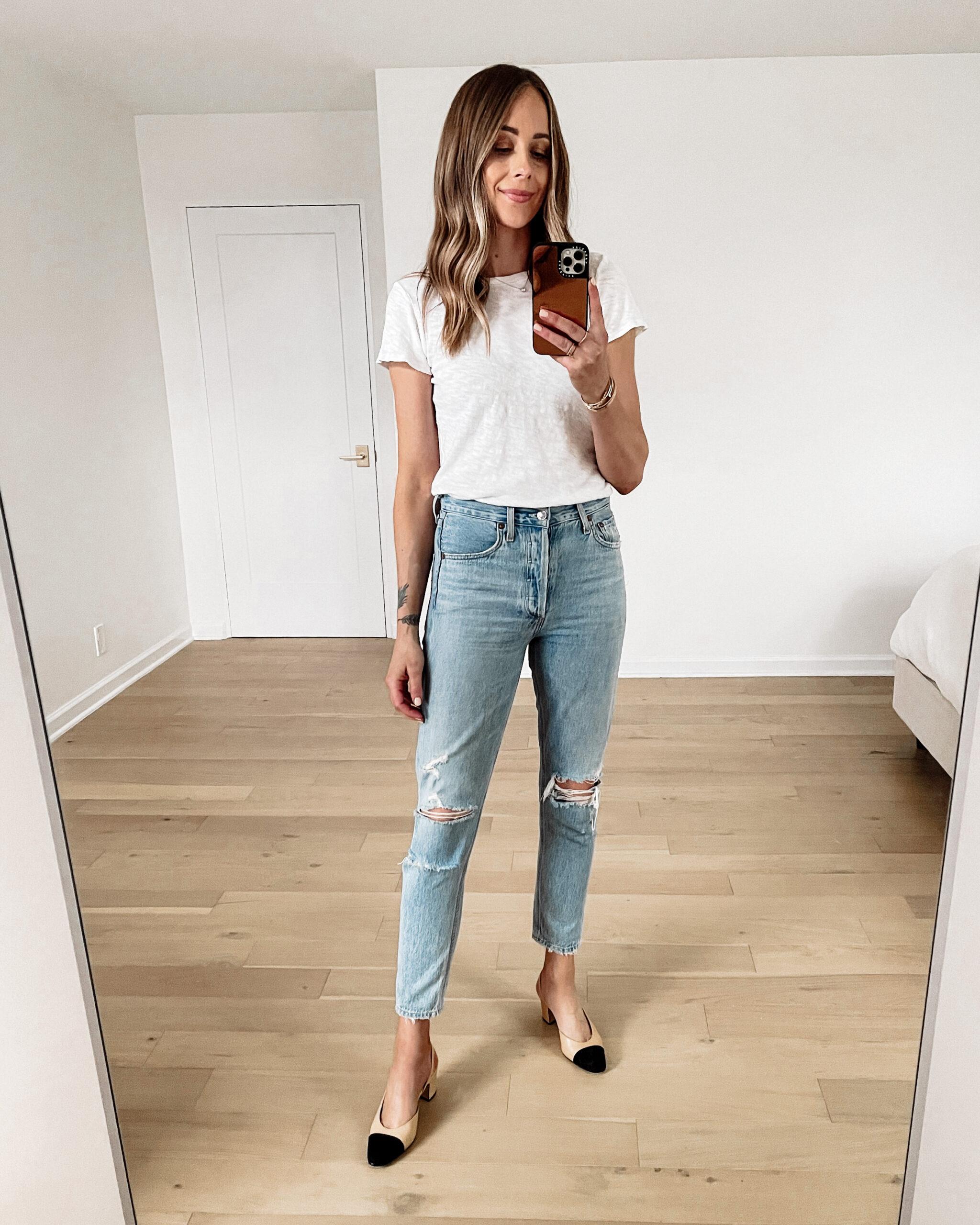 Fashion Jackson Wearing ATM White Tshirt AGOLDE Jamie Ripped Jeans Chanel Slingbacks