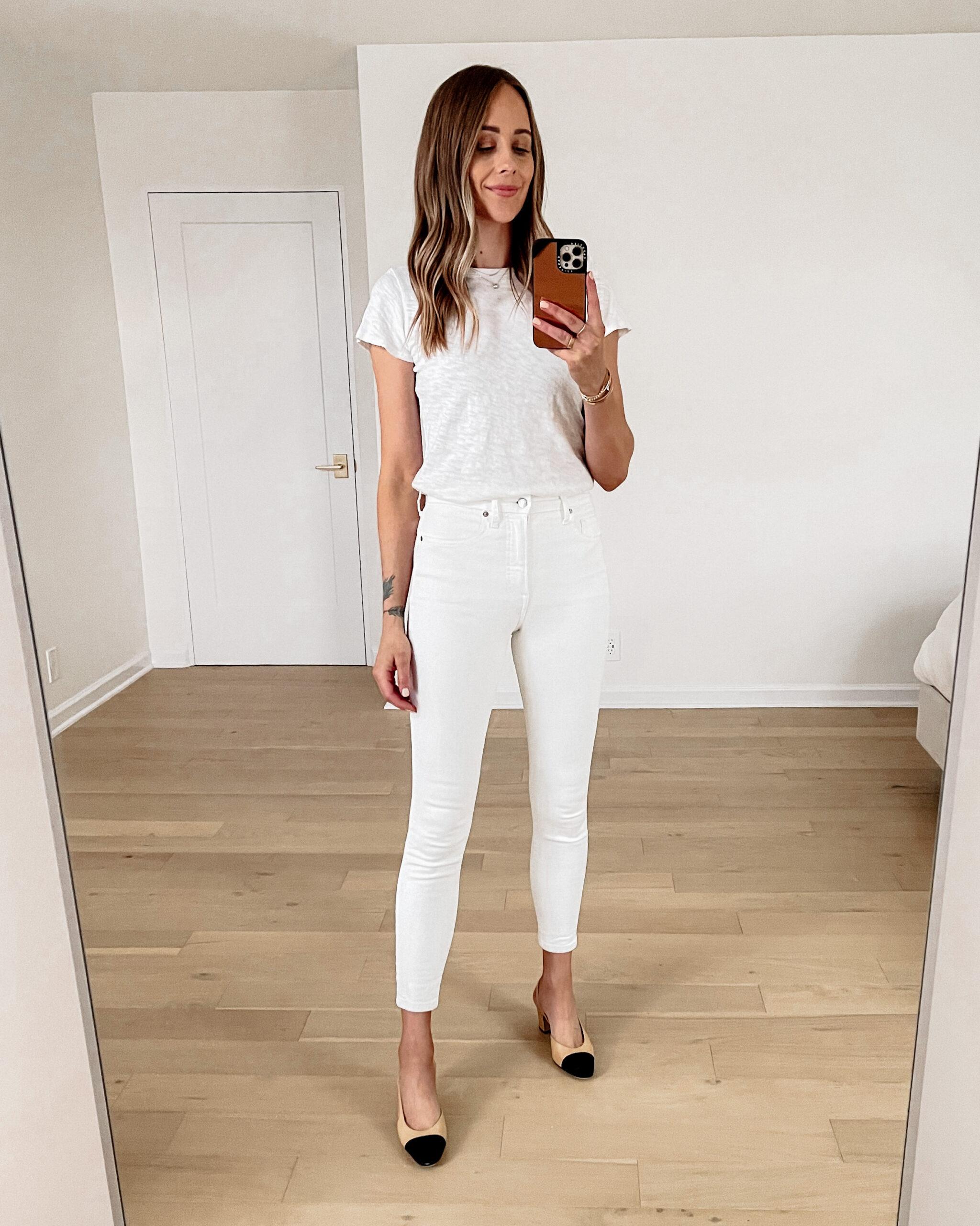 Fashion Jackson Wearing ATM White Tshirt Everlane White Skinny Jeans Chanel Slingbacks