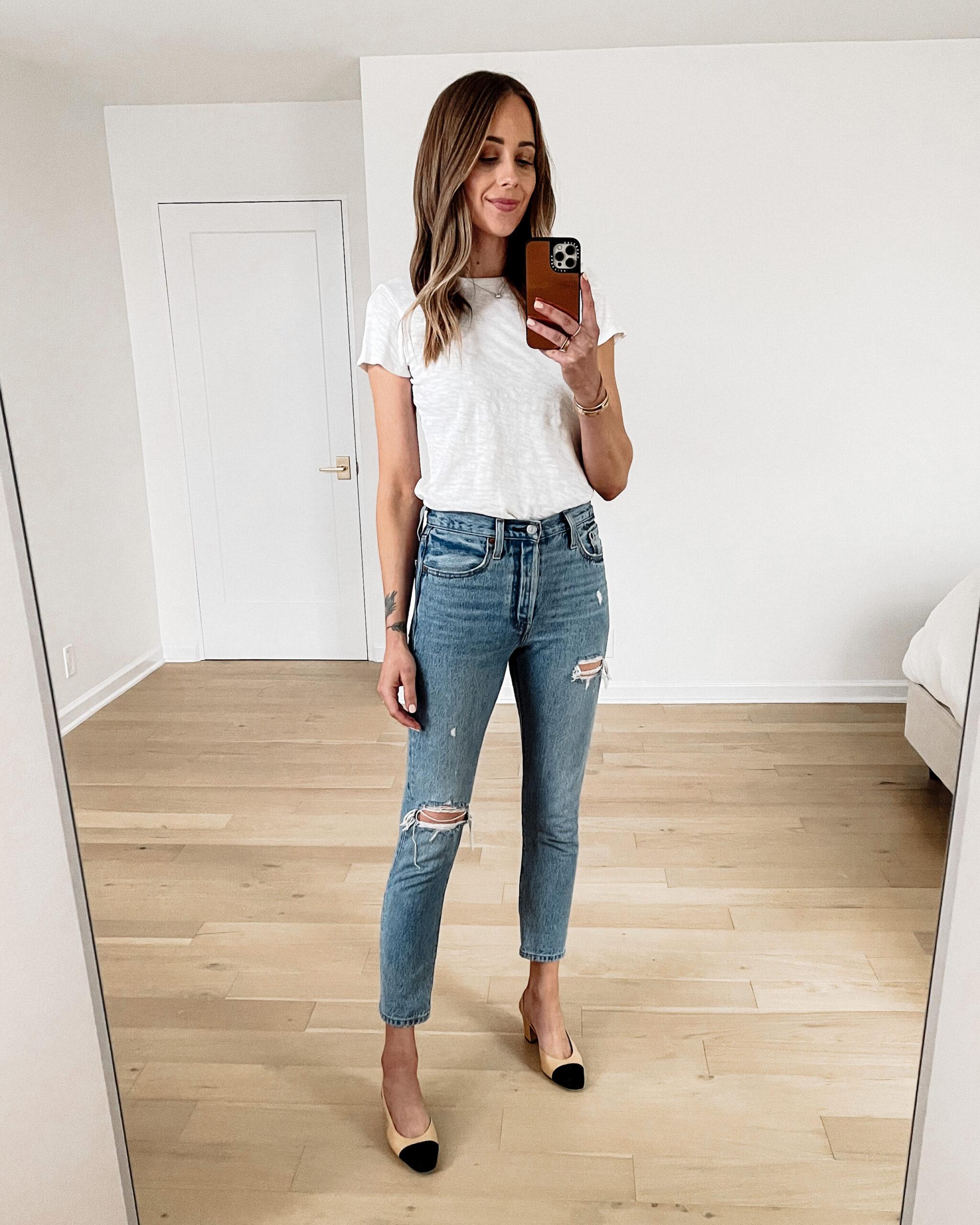 Fashion Jackson Wearing ATM White Tshirt Levis 501 Ripped Skinny Jeans Chanel Slingbacks