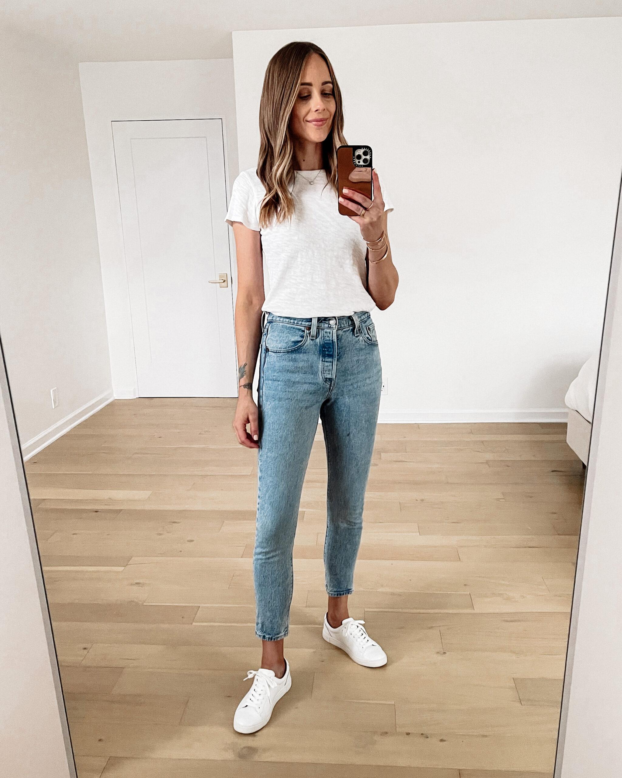 Fashion Jackson Wearing ATM White Tshirt Levis 501 Skinny Jeans Frye White Sneakers