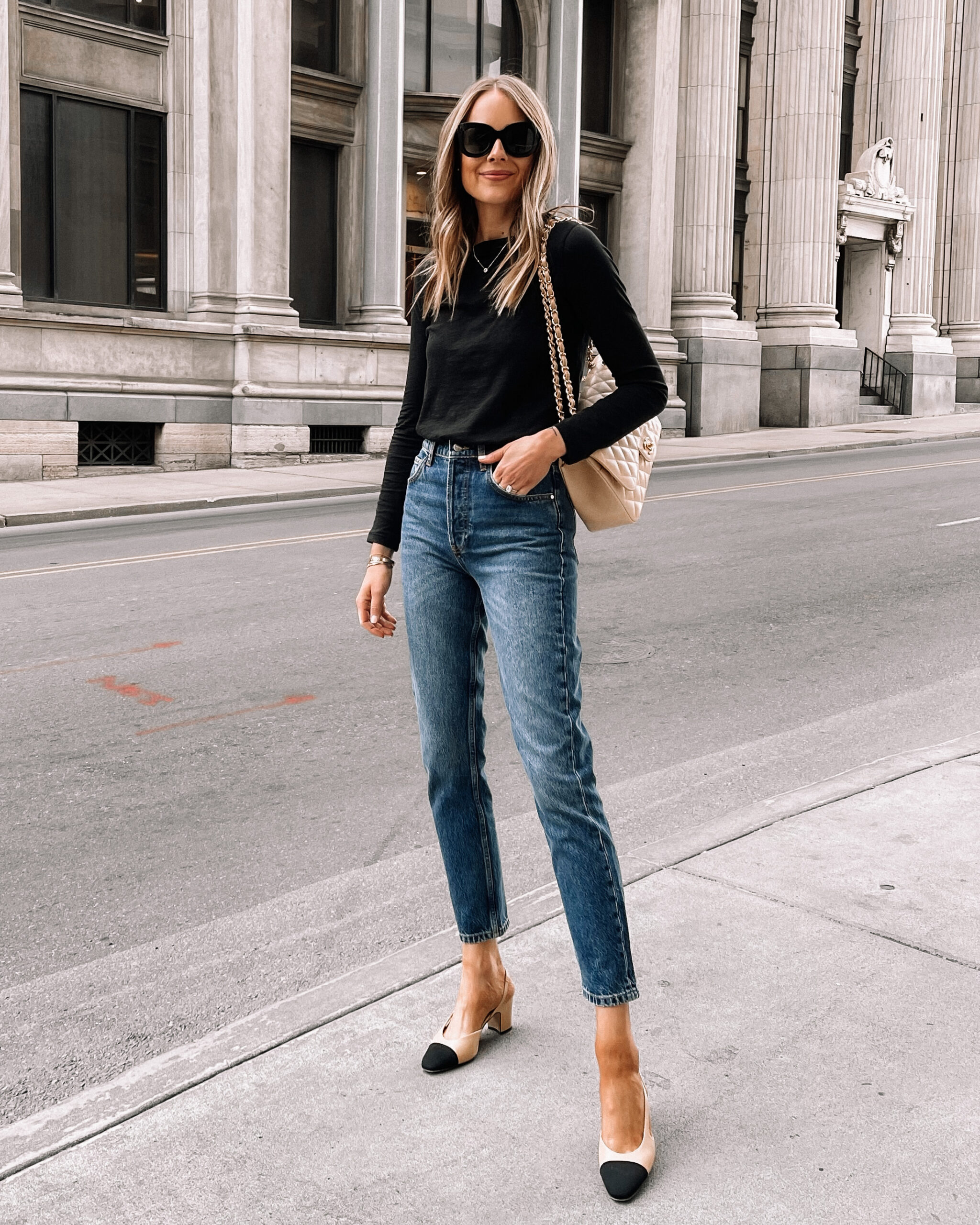 Fashion Jackson Wearing Black Long Sleeve Tshirt Anine Bing Jeans Chanel Slingbacks