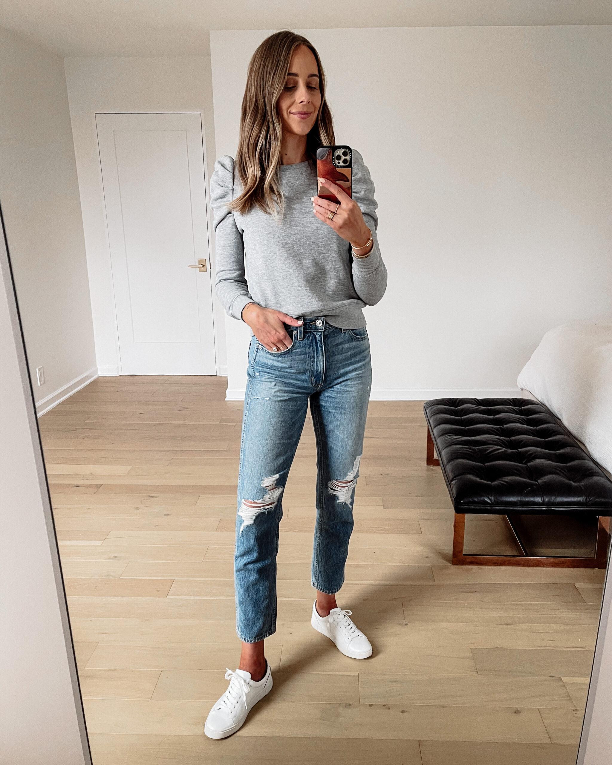 Fashion Jackson Wearing Grey Puff Sleeve Sweatshirt Ripped Jeans White Sneakers
