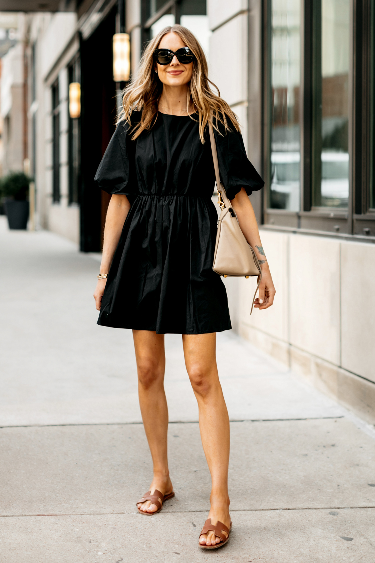 Fashion Jackson Wearing Madewell Little Black Dress Gold Herems Oran Sandals Outfit 1