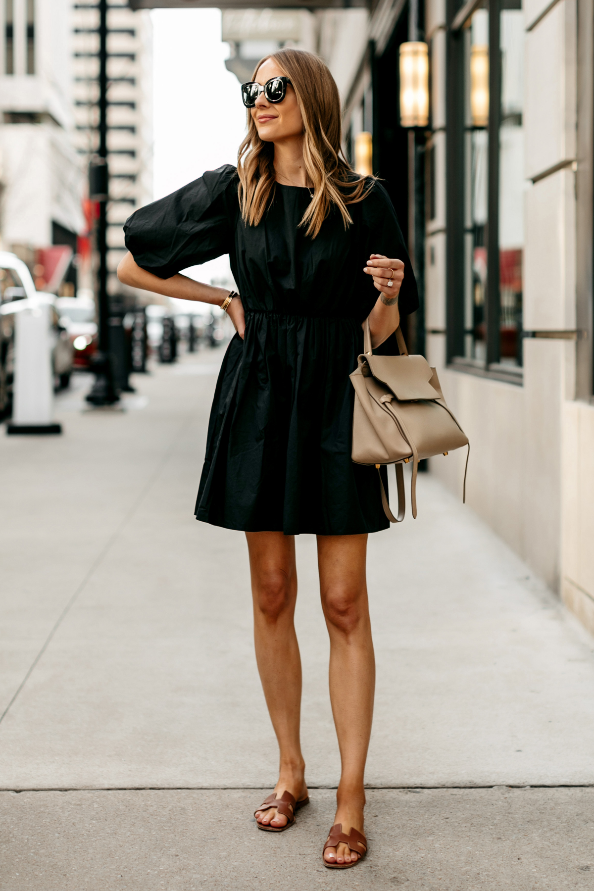 Fashion Jackson Wearing Madewell Little Black Dress Gold Herems Oran Sandals Outfit 2