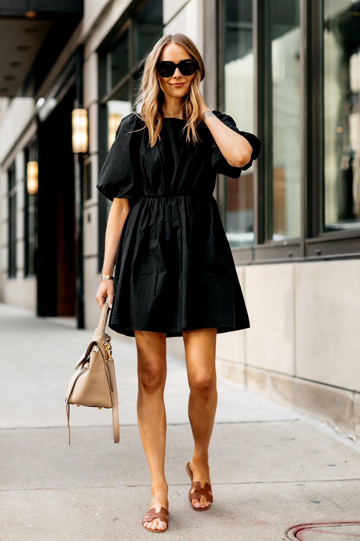 Fashion Jackson Wearing Madewell Little Black Dress Gold Herems Oran Sandals Outfit