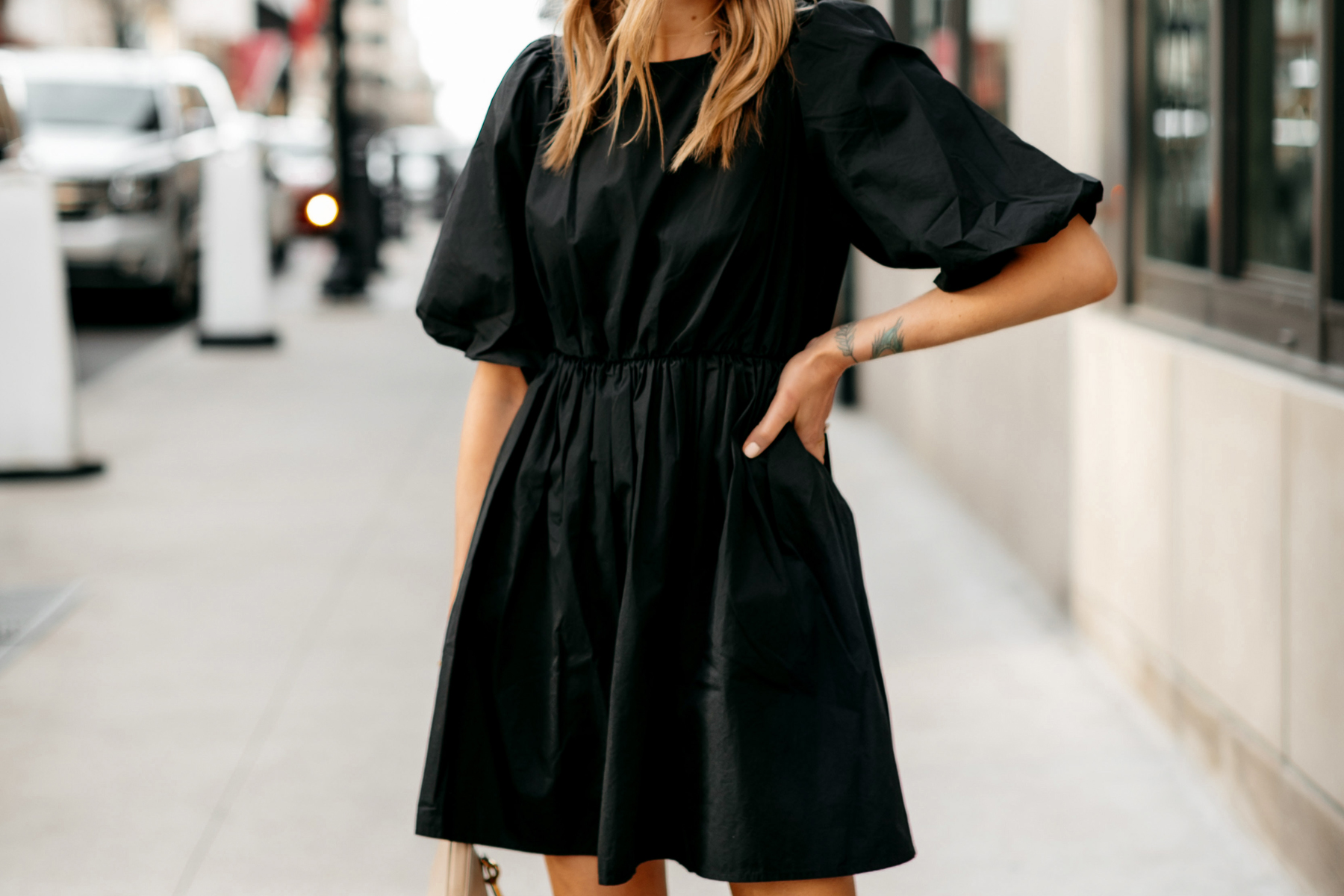 Fashion Jackson Wearing Madewell Little Black Dress Outfit 2