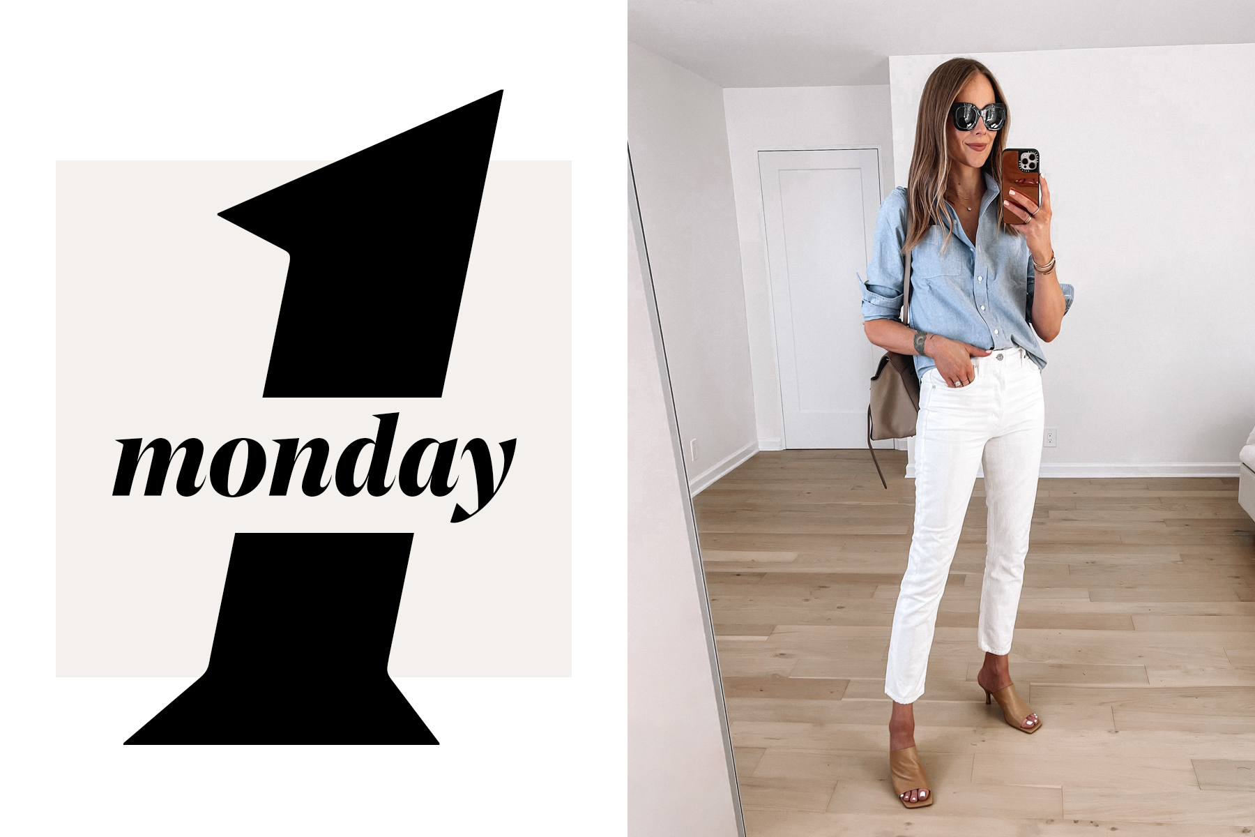 Fashion Jackson Wearing Everlane Blue Button Down Shirt White Jeans Nude Heeled Sandals