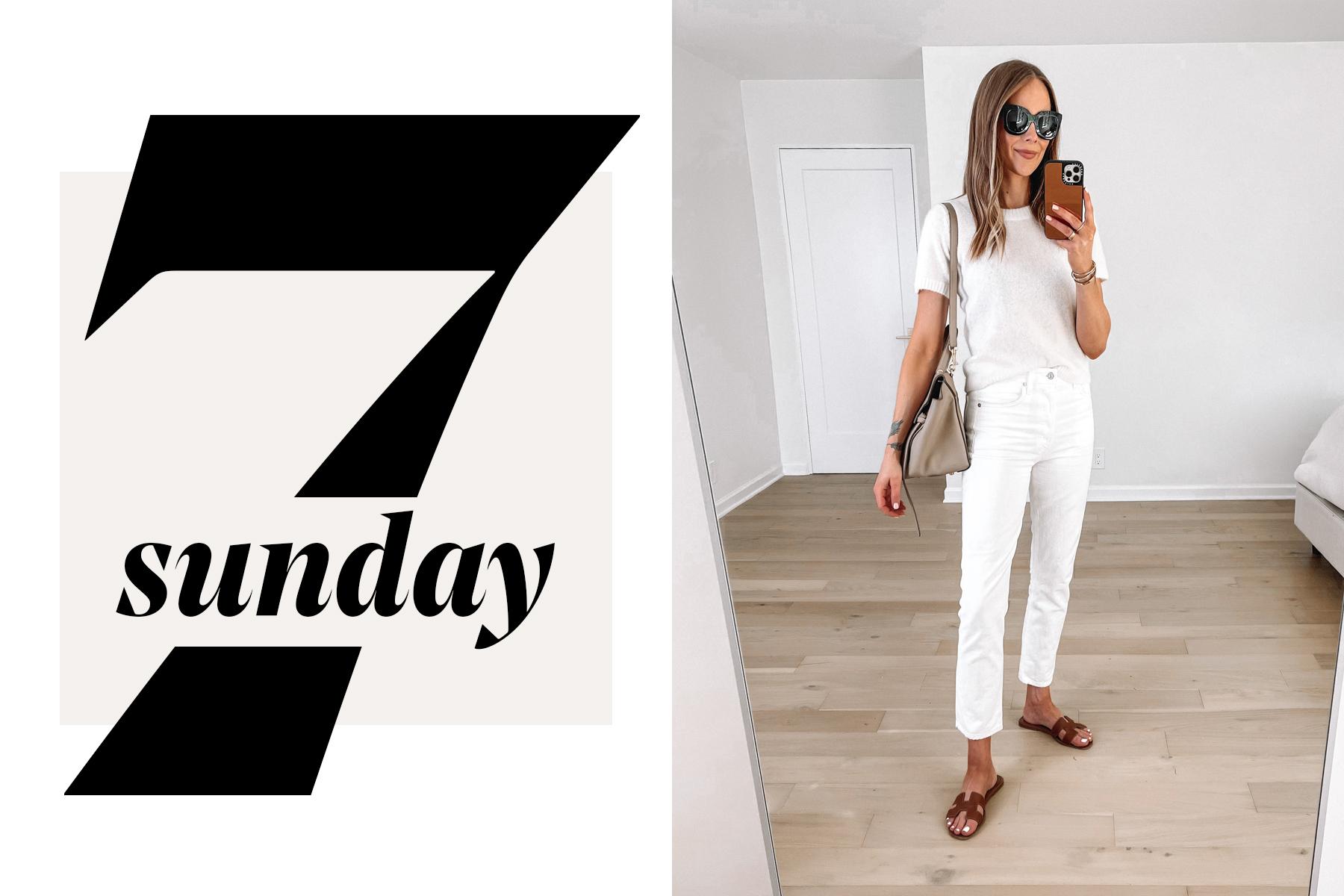 Fashion Jackson Wearing White Short Sleeve Sweater White Striaght Leg Jeans Hermes Brown Sandals